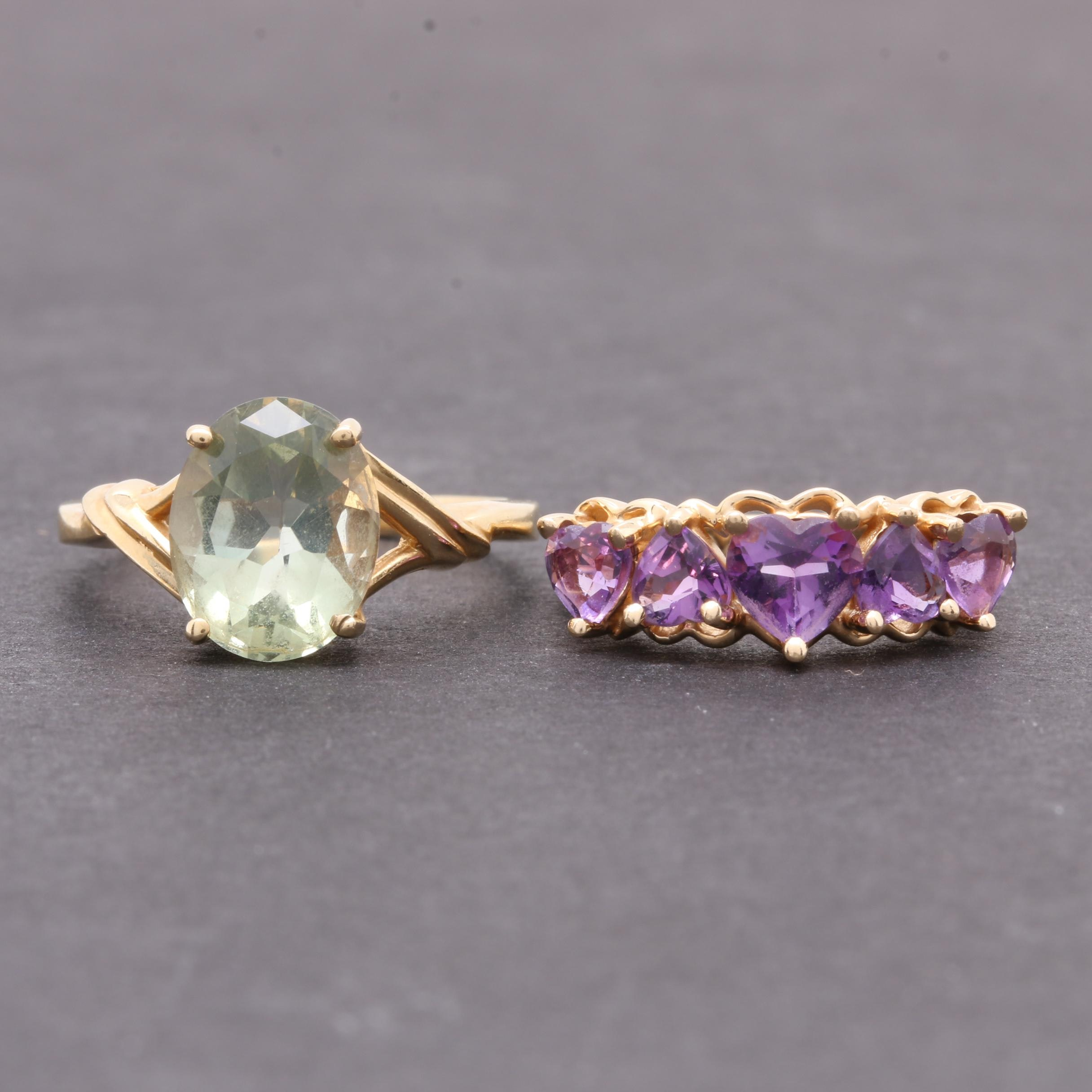14K Yellow Gold Amethyst and 10K Yellow Gold Praseolite Ring Assortment