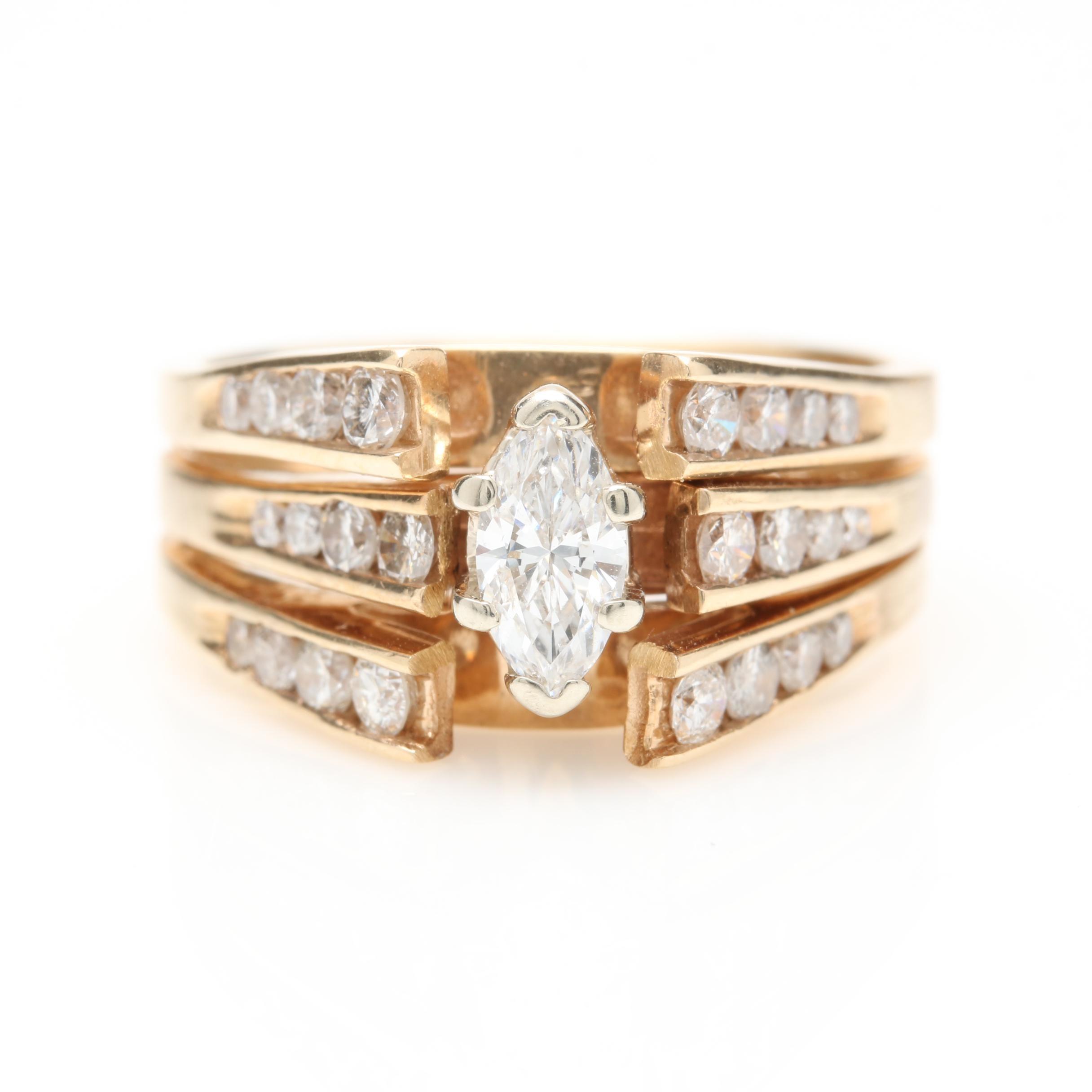 14K Yellow Gold 1.10 CTW Diamond Ring