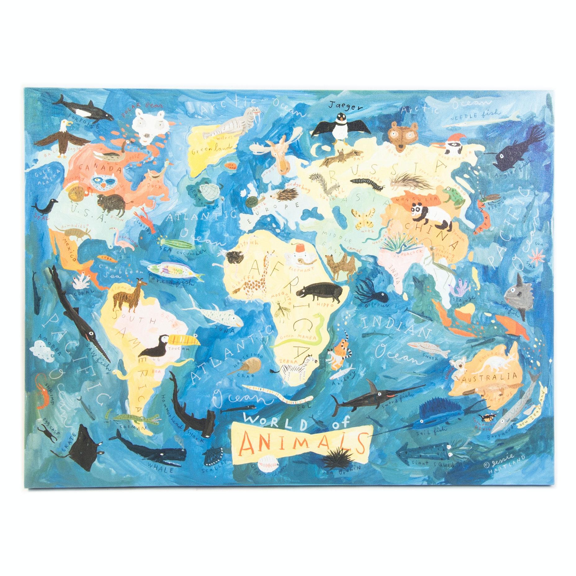 Childrens World Map Giclee