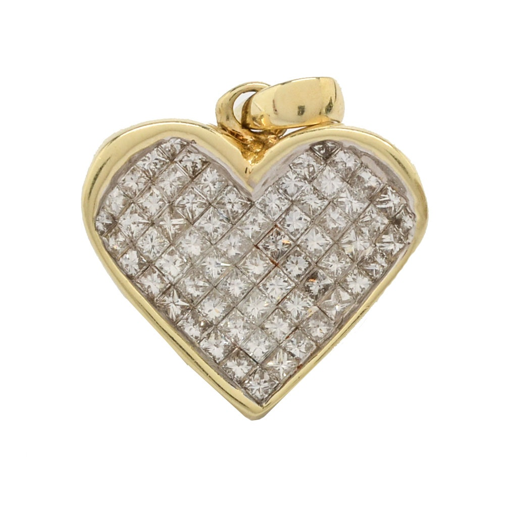 14K Yellow Gold 1.50 CTW Diamond Invisible Set Heart Pendant