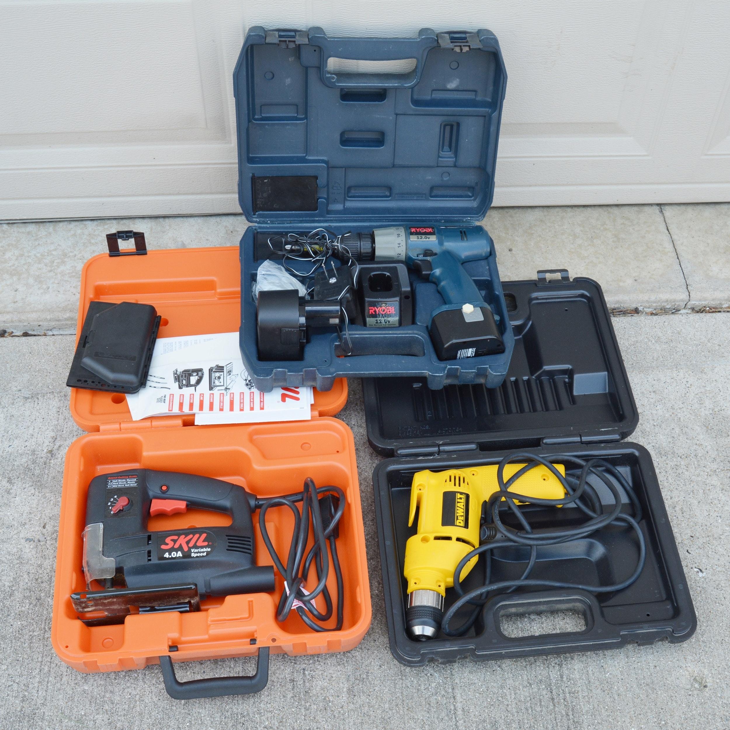 Skil Variable Speed Jig Saw, DeWalt Drill and Ryobi Cordless Drill