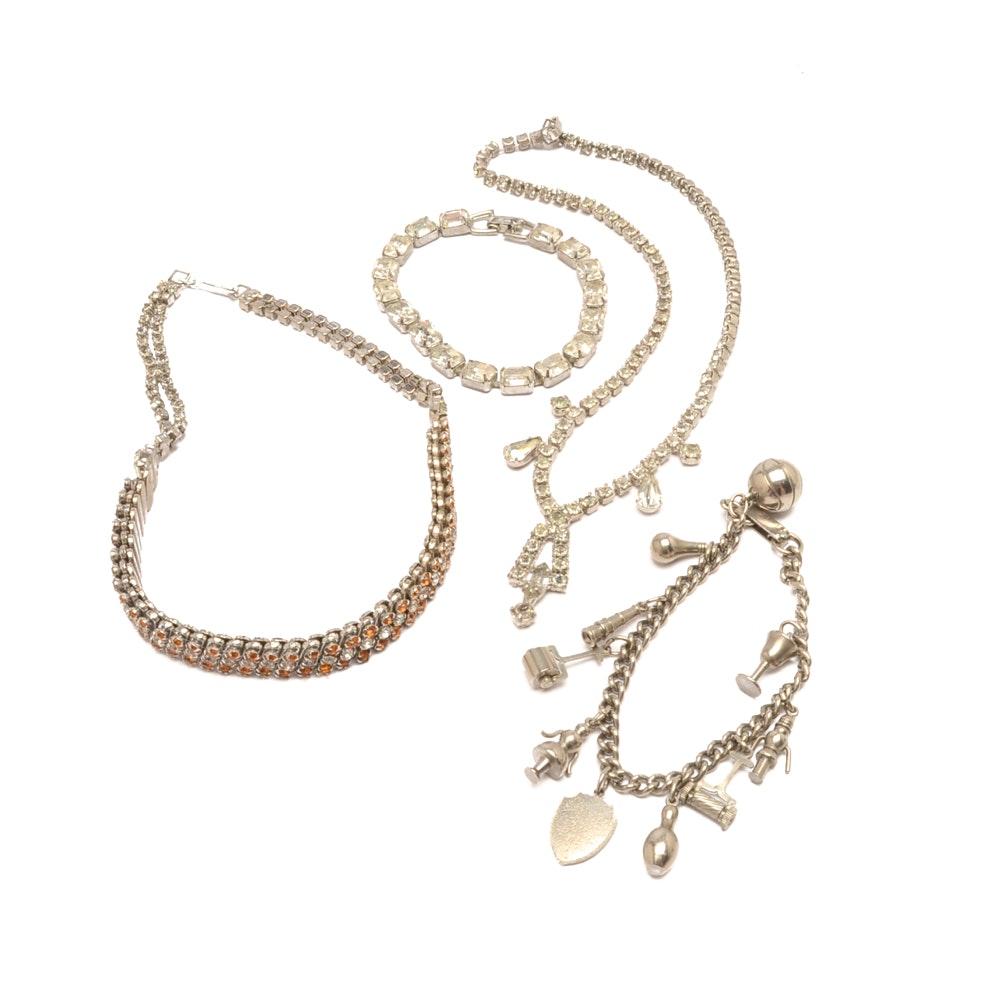 Vintage Rhinestone Chain Jewelry including Weiss