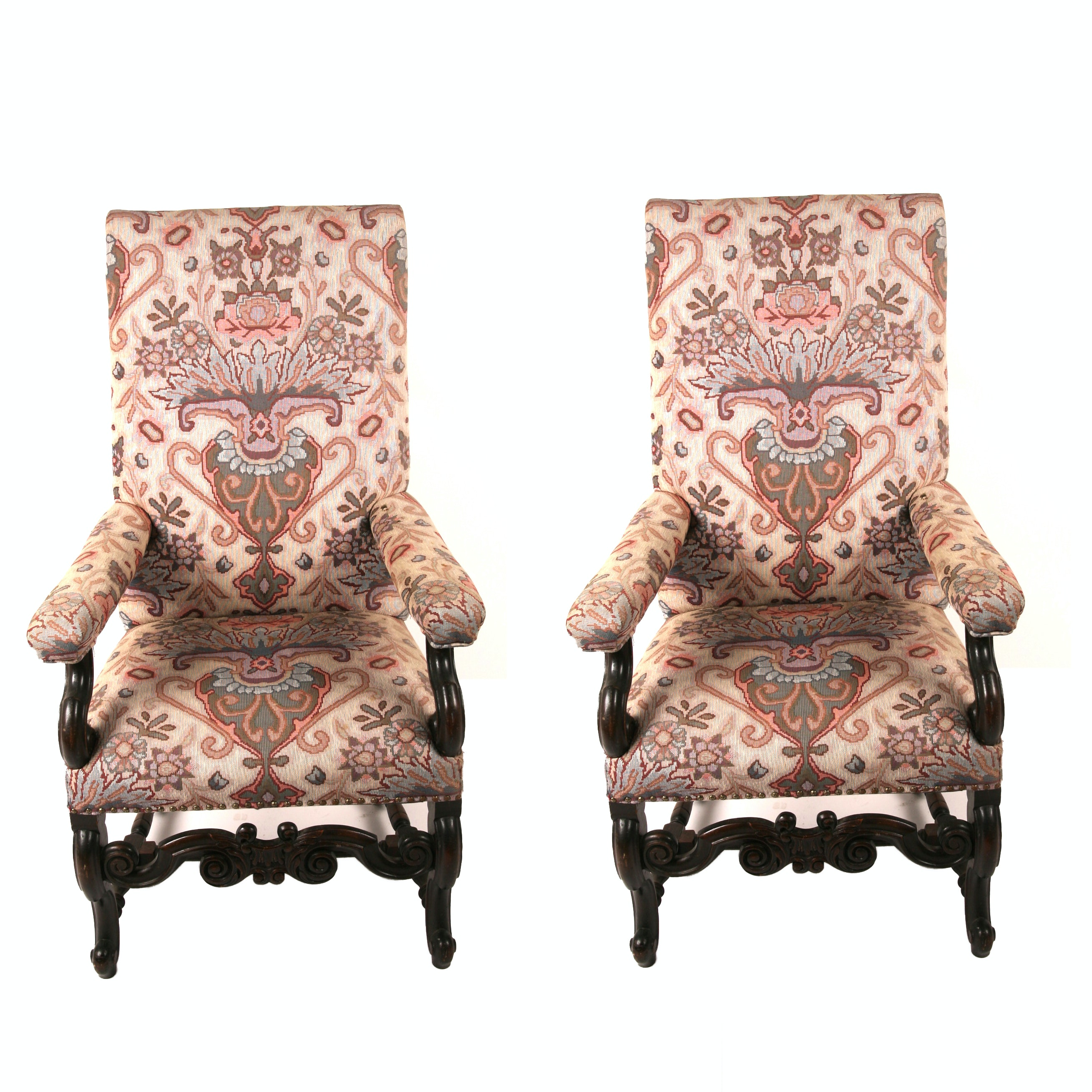 Pair of Print Upholstered Armchairs