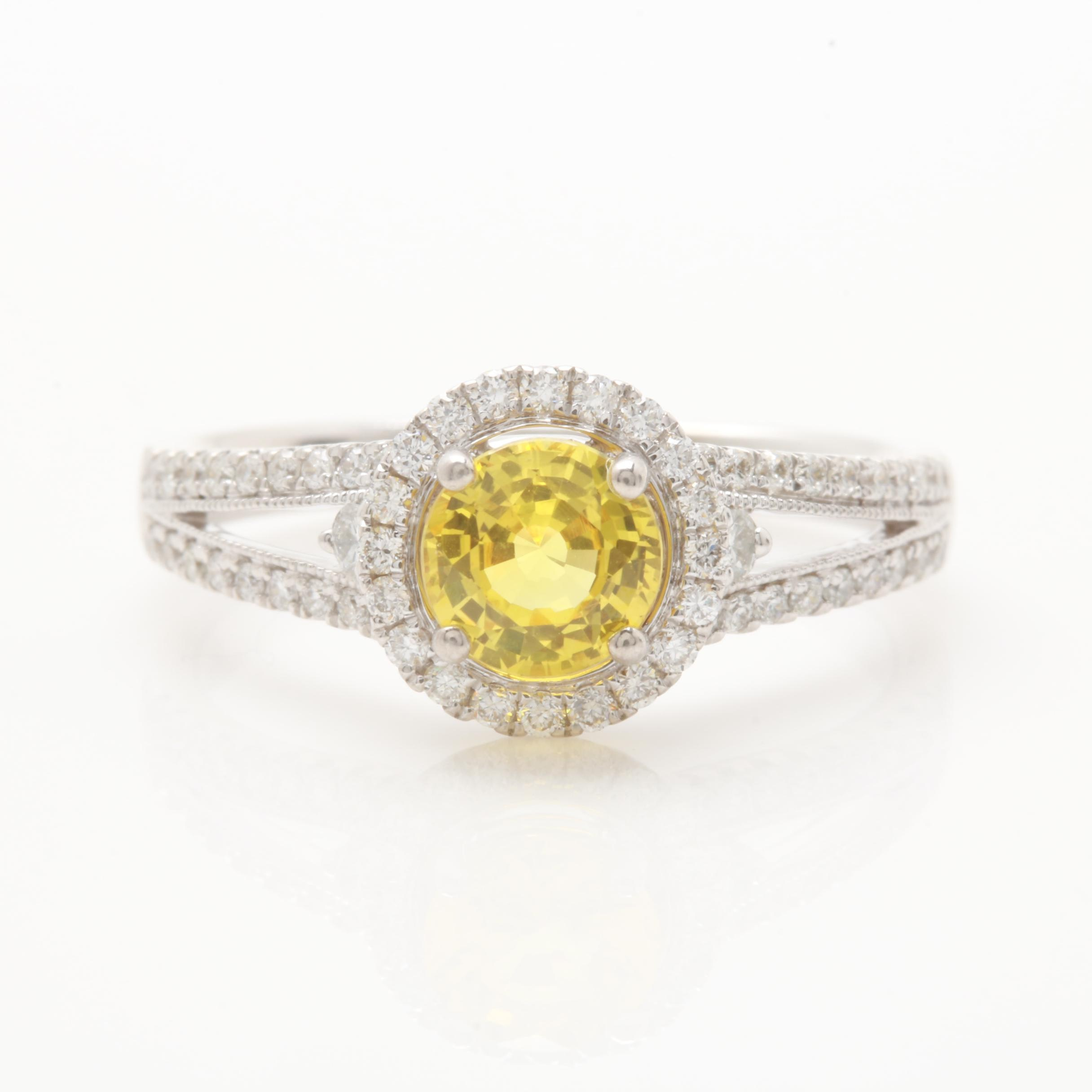 Shane Co. 14K White Gold Yellow Sapphire and Diamond Ring