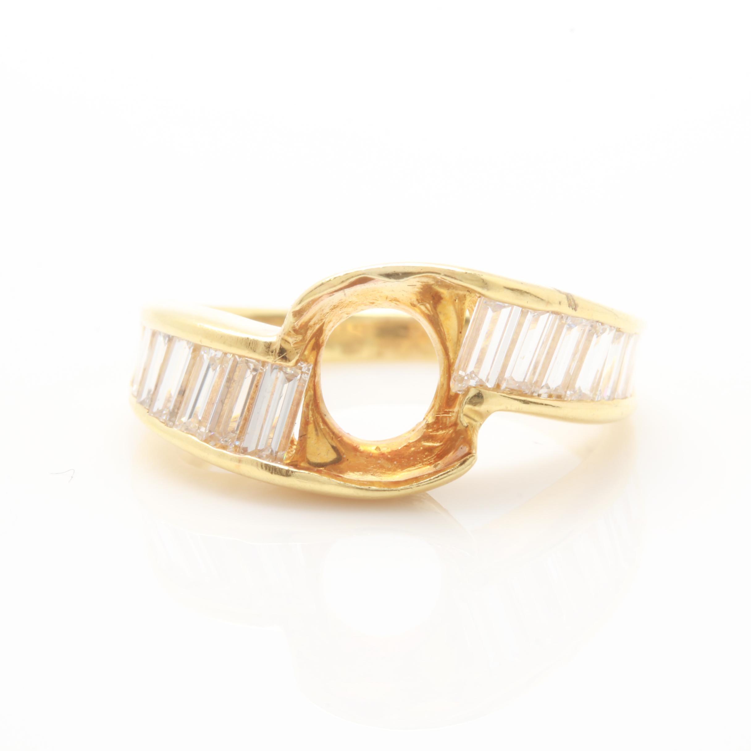 18K Yellow Gold Semi Mount 1.26 CTW Diamond Ring