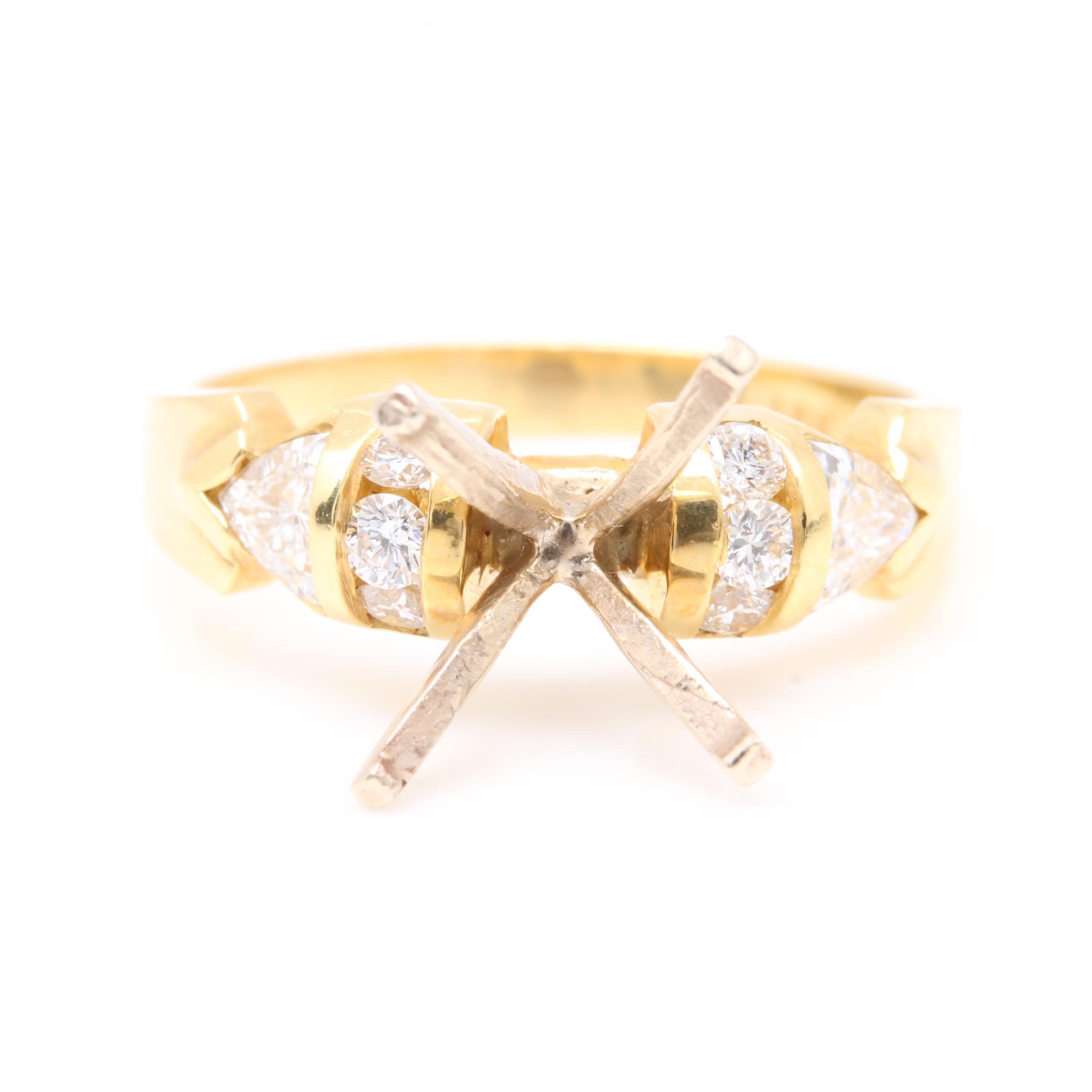 14K and 18K Yellow Gold Diamond Semi Mount Ring