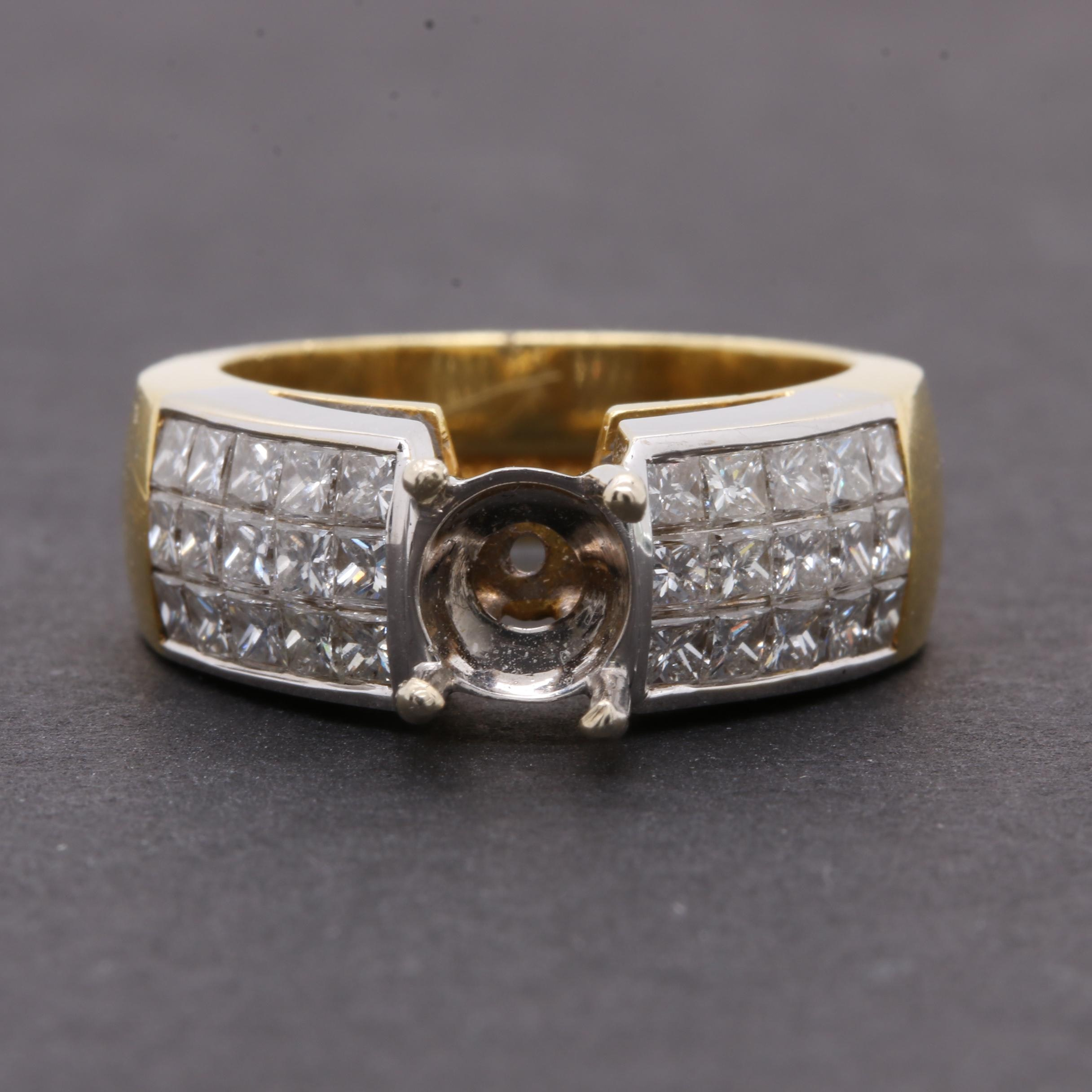 18K Yellow Gold 1.50 CTW Diamond Semi Mount Ring with 18K White Gold Accents