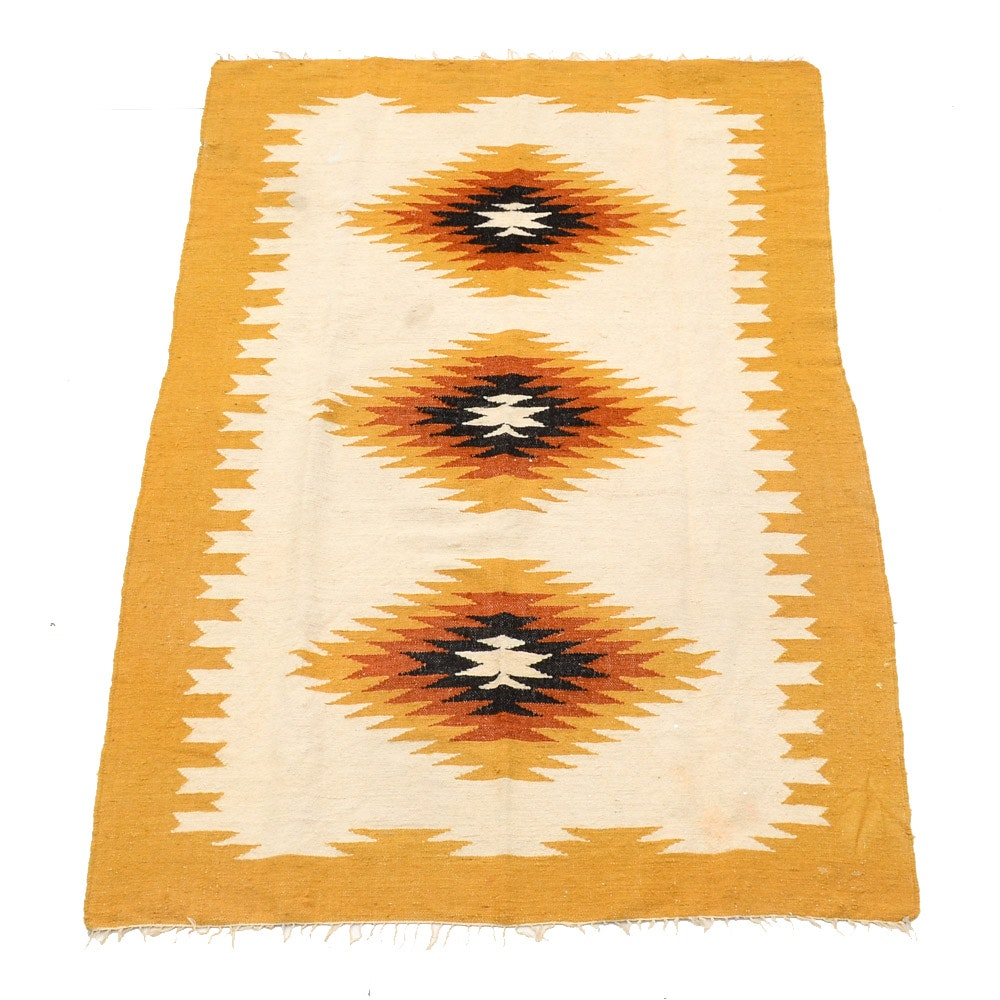 Hand Woven Mexican Wool Rug Ebth