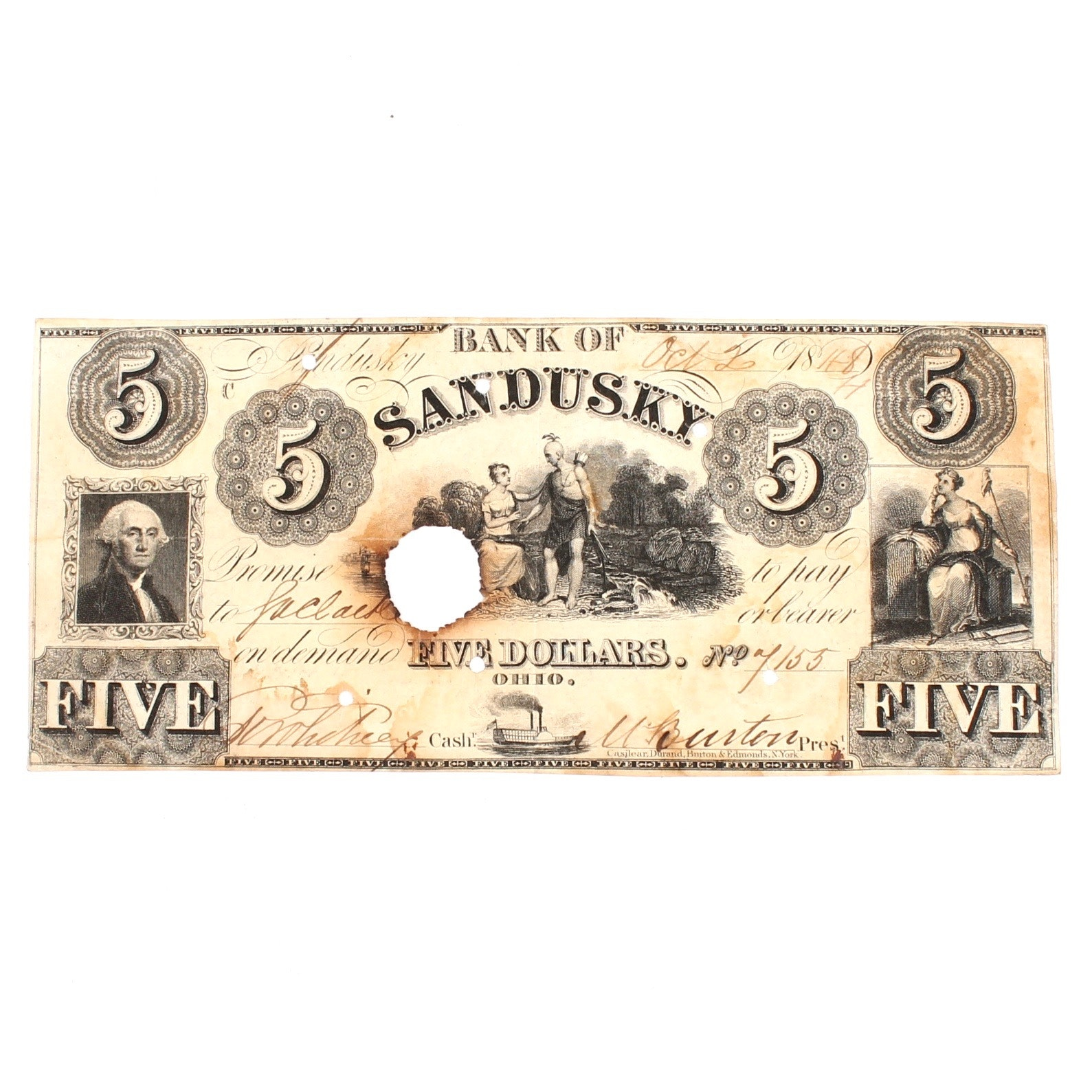Antique Bank of Sandusky, Ohio $5 Note