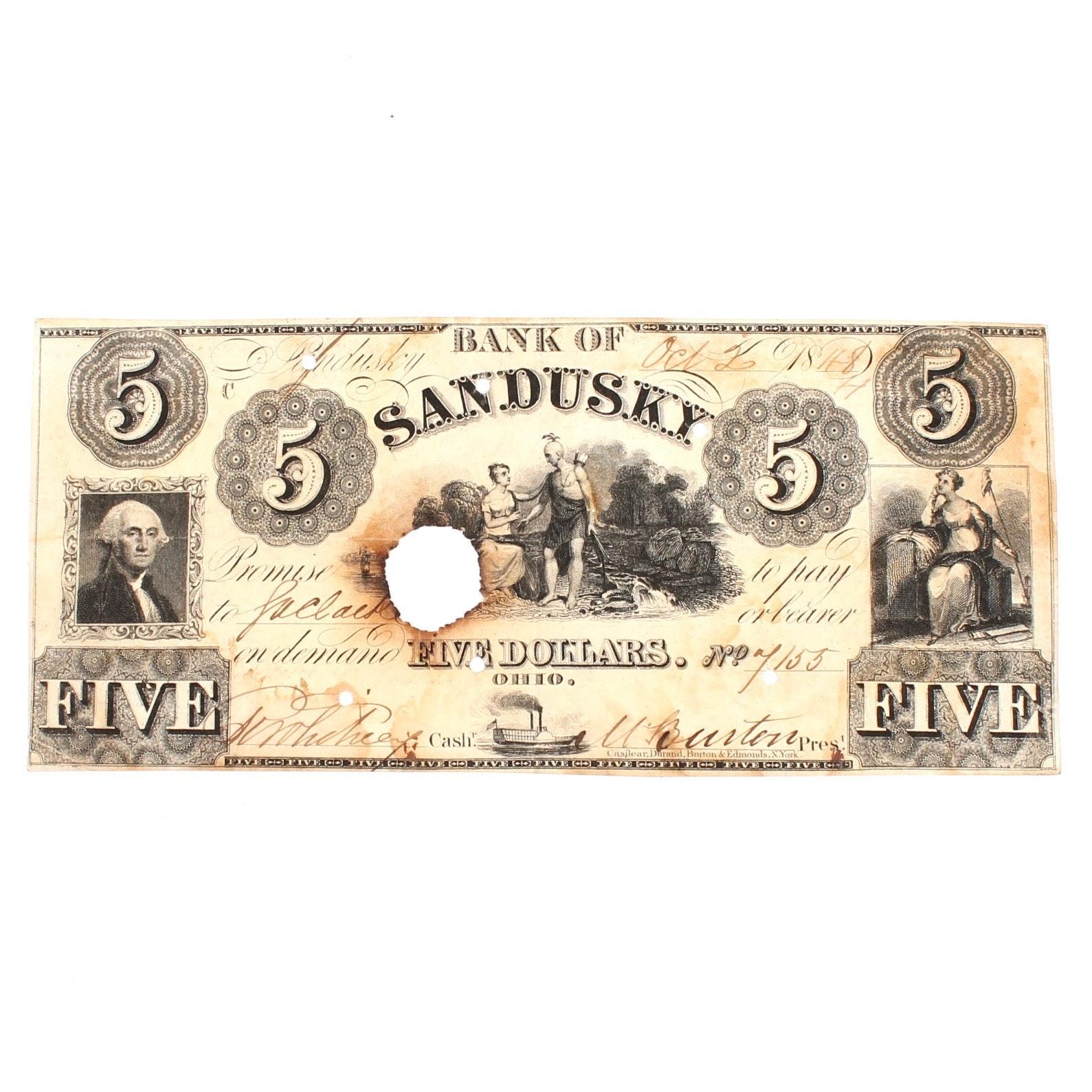 Antique Bank of Sandusky, Ohio $5 Note