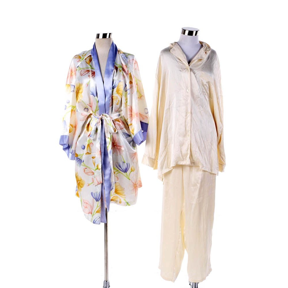 Nordstrom Lingerie Silk Pajama Set and Natorious Floral Robe