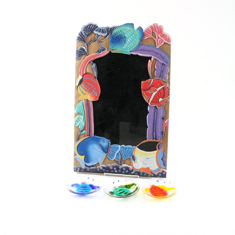 Fish Themed Carved Wood Mirror and Signed Handmade Art Glass Plates