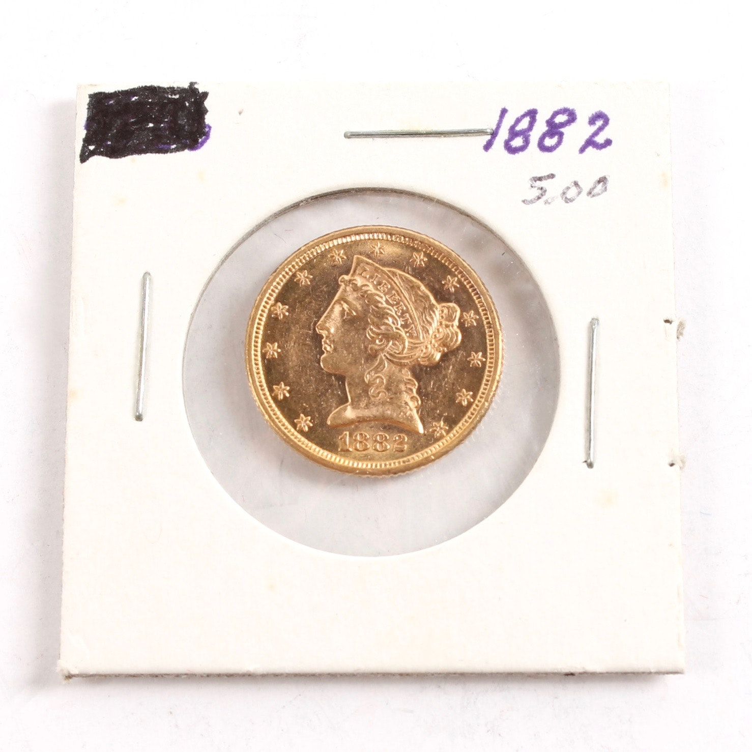 1882 Coronet Heat Gold $5 Half Eagle