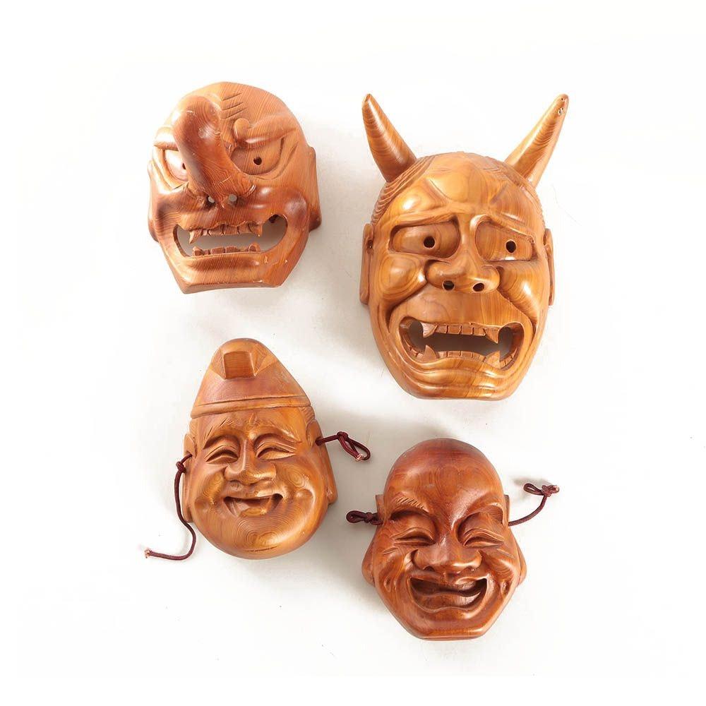 Japanese Carved Wood Masks