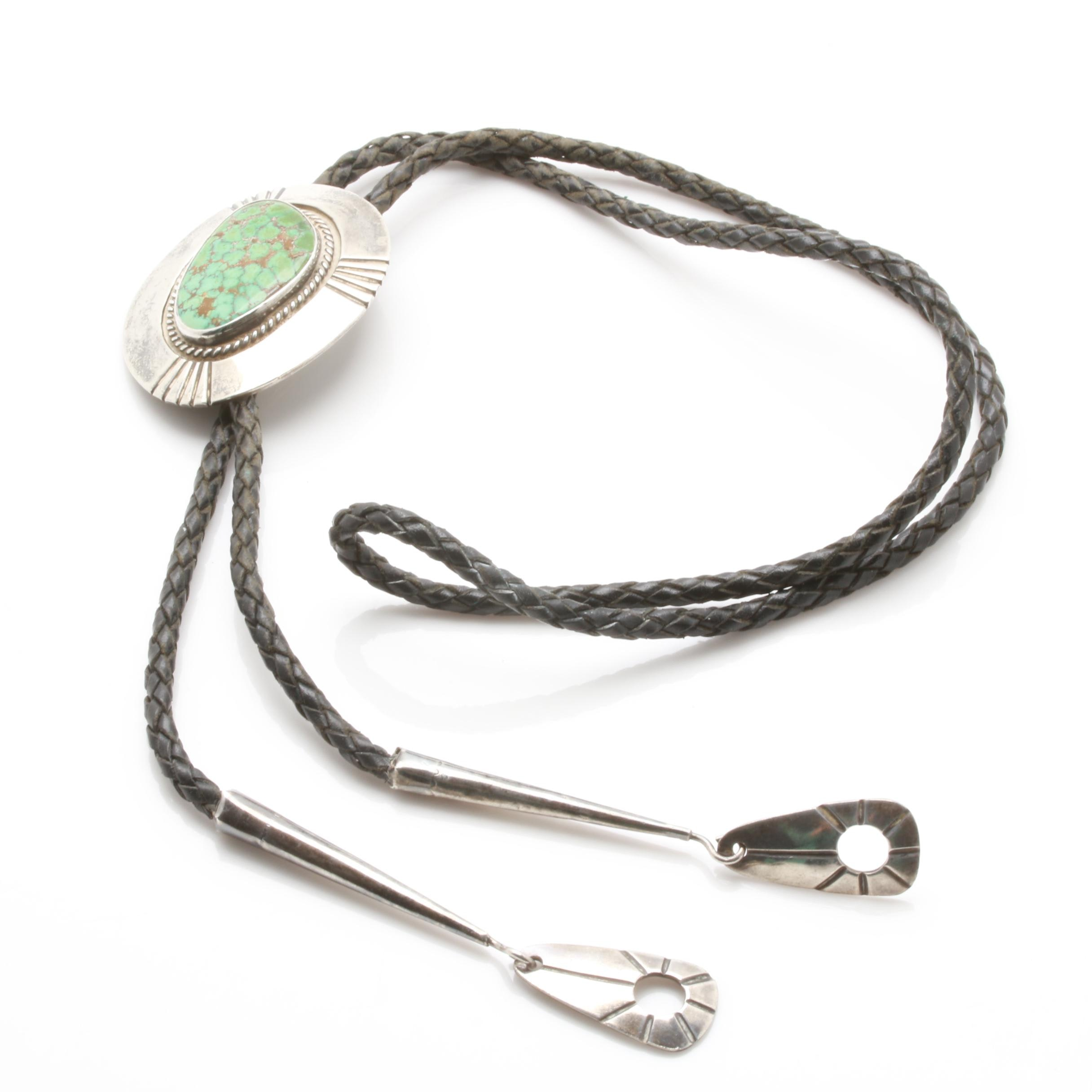 Bennett Sterling Silver Turquoise Bolo Tie