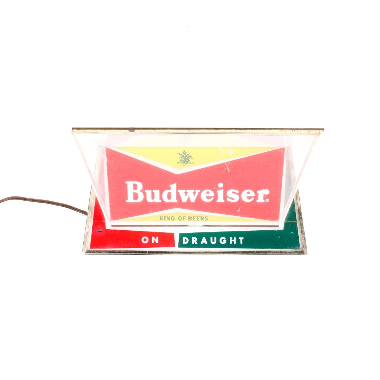"""Vintage """"Budweiser Beer"""" Back Bar Light Up Counter Sign"""