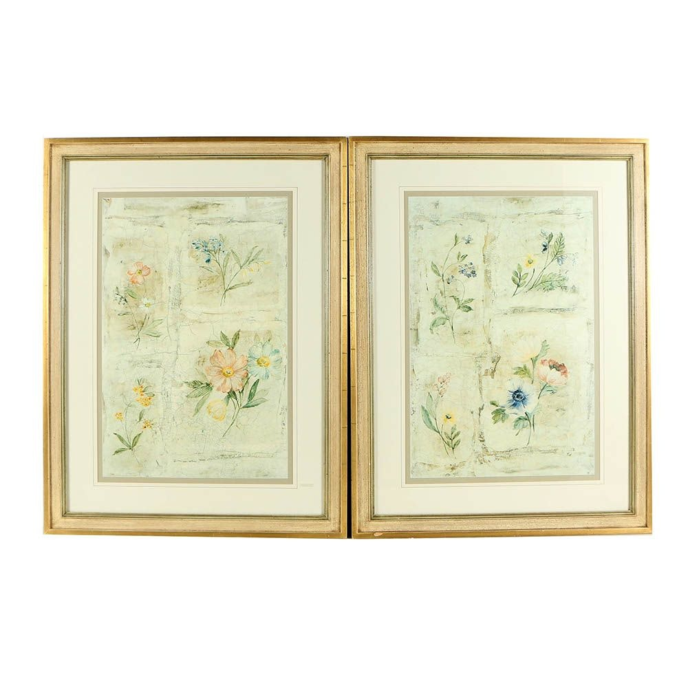 """Offset Lithographs """"Cracked Floral Panel I & II"""""""