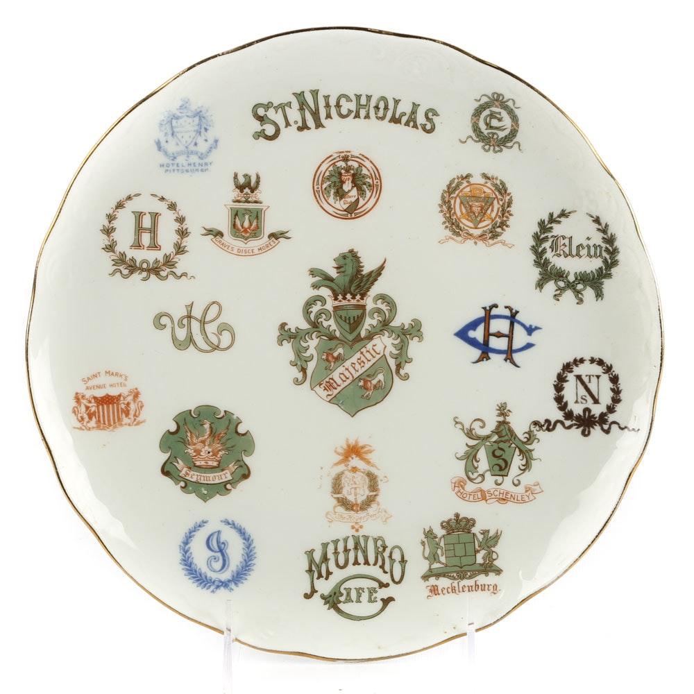 Antique Syracuse China Hotel/Restaurant Sample Plate