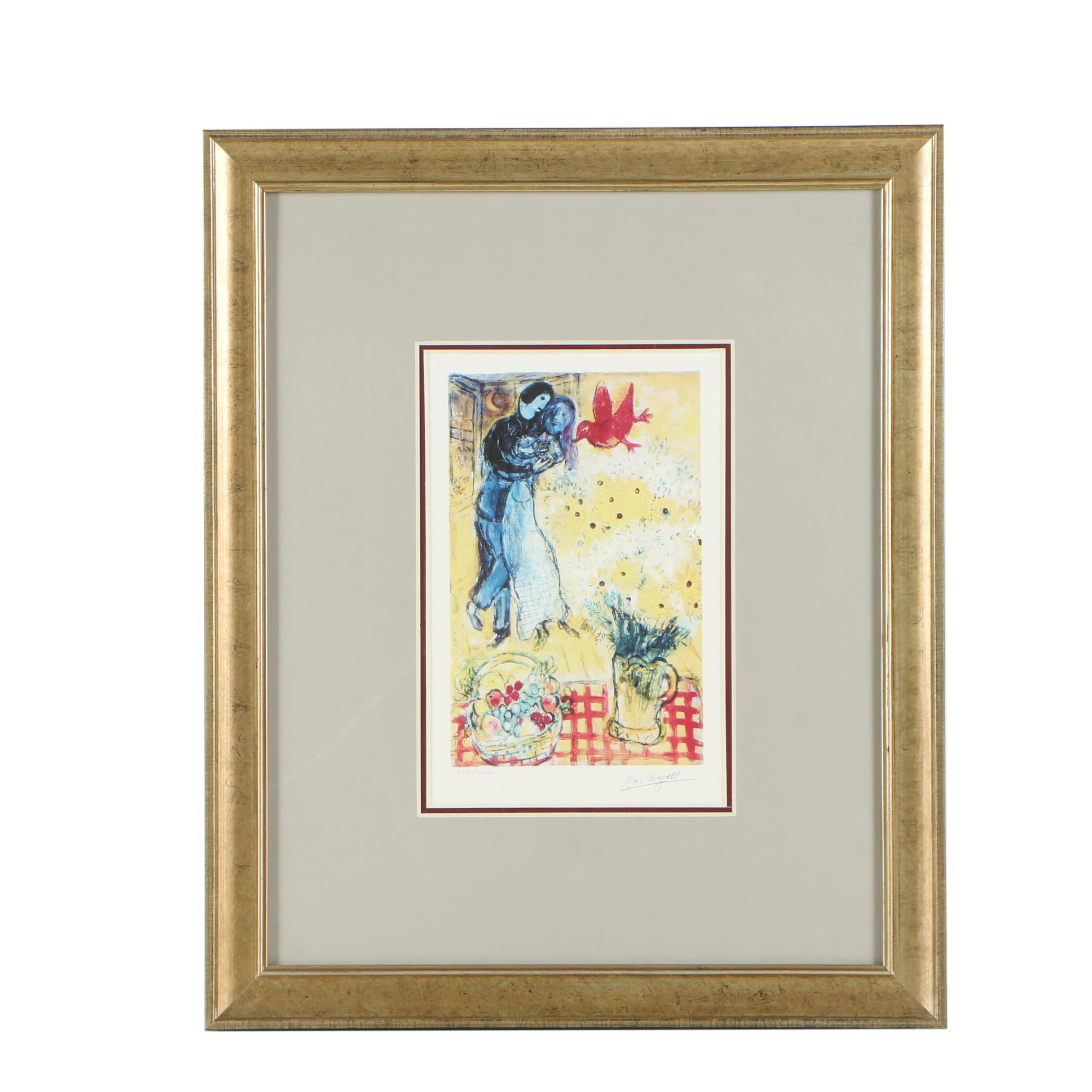 "Limited Edition Giclée Print After Marc Chagall ""Lovers and Daisies"""