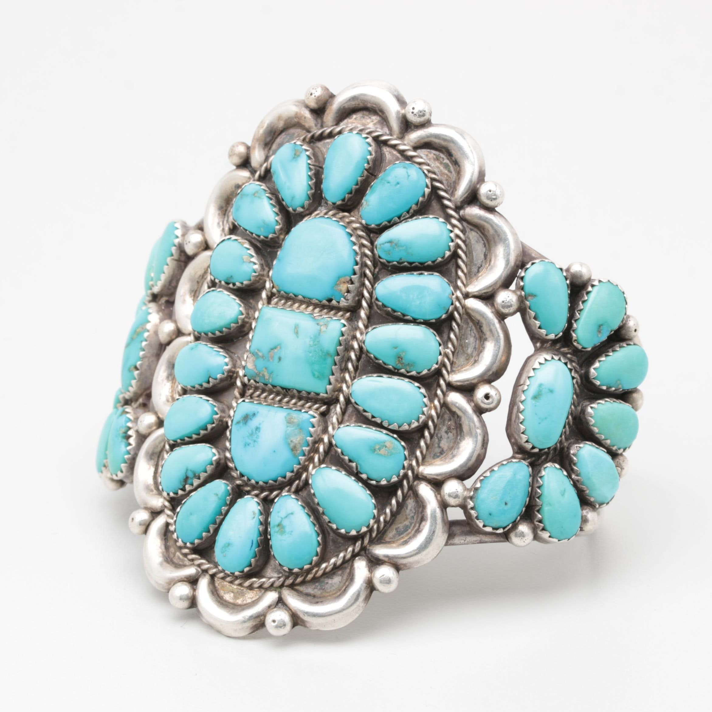 Justin and Esther Wilson Navajo Diné Sterling Silver Turquoise Cluster Cuff
