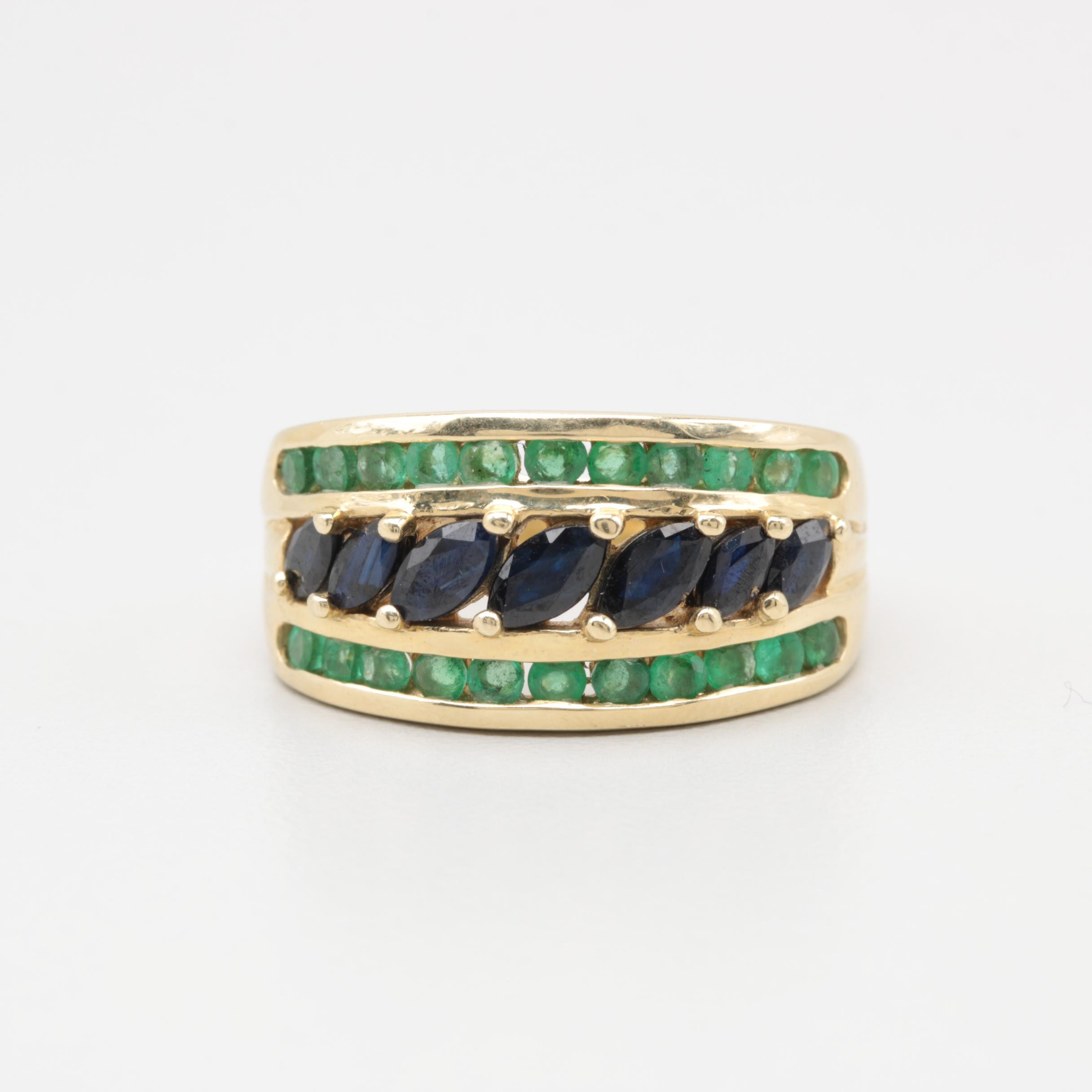 14K Yellow Gold Blue Sapphire and Emerald Ring