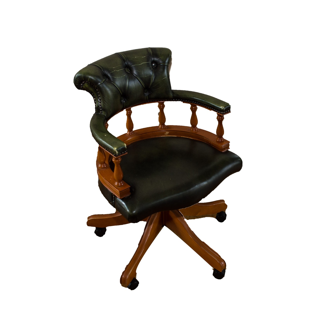 Green Leather Rolling Office Chair ...