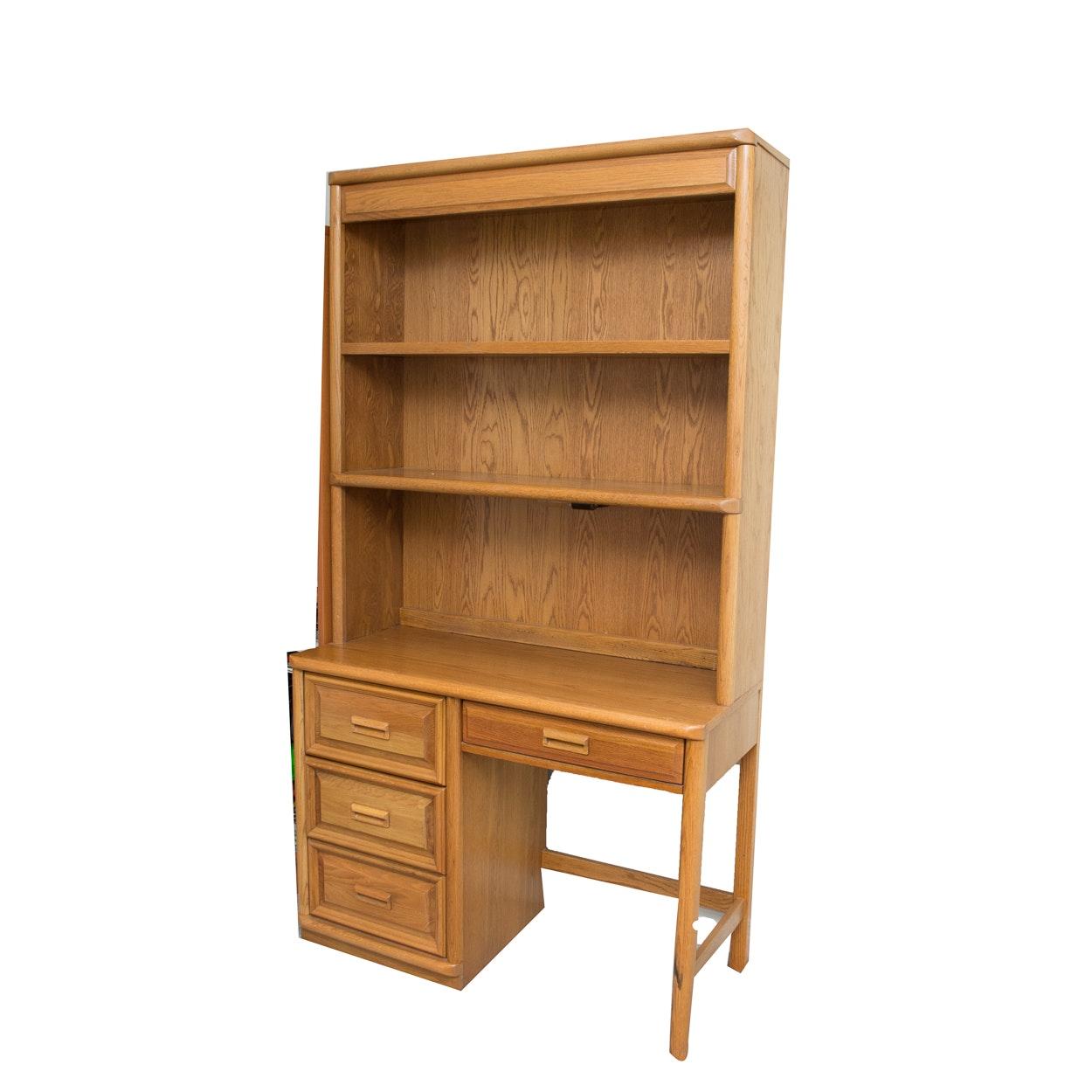 Lexington Oak Student Desk and Hutch