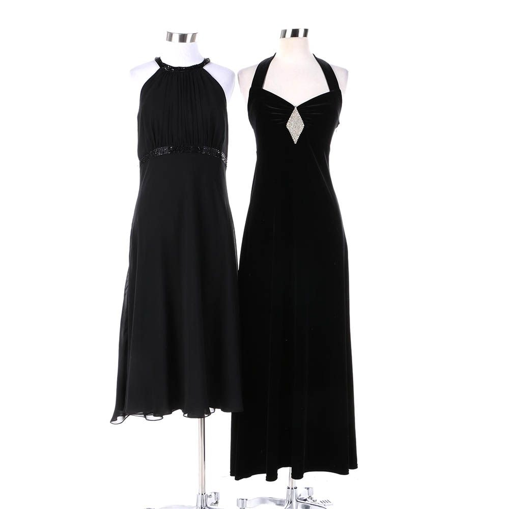 Women's Black Chiffon and Black Velvet Evening Dresses Including Evan-Picone