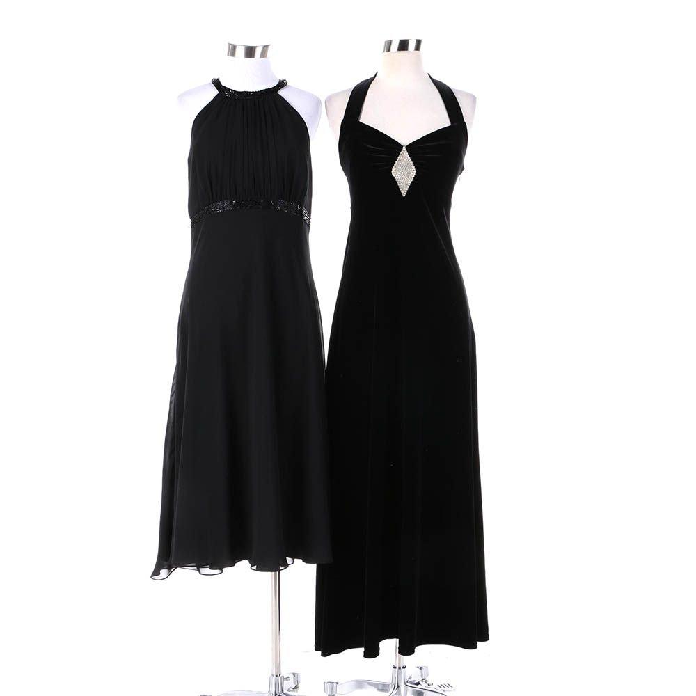 Women's Black Chiffon and Black Velvet Evening Dresses Including Evan-Picone