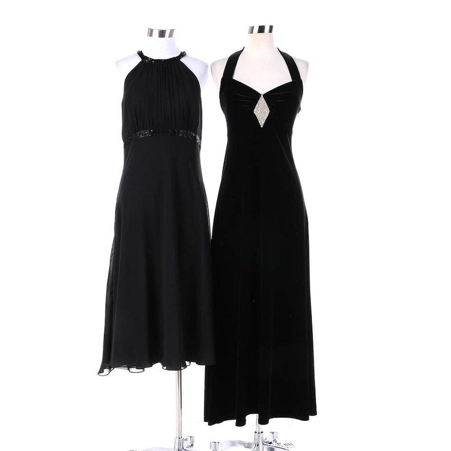 Womens Black Chiffon And Black Velvet Evening Dresses Including