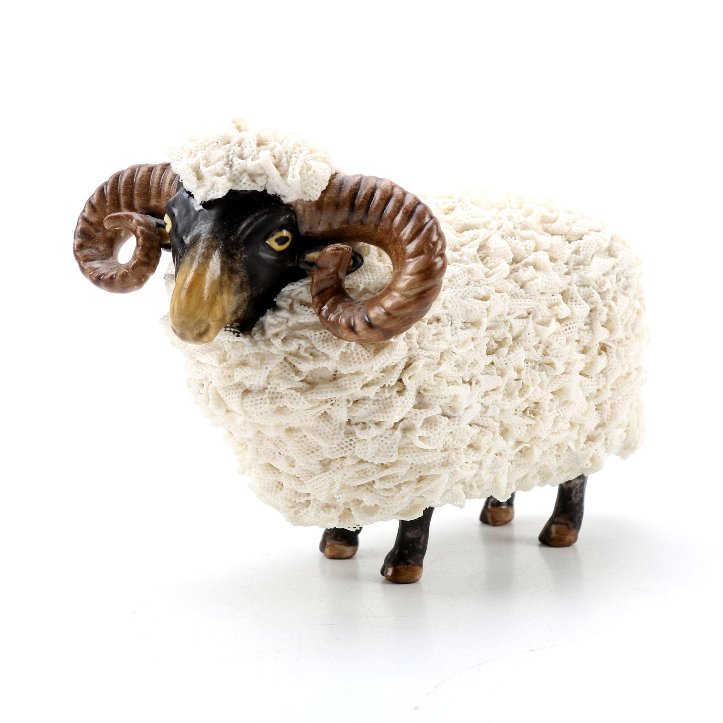 "Irish Dresden ""Daddy Sheep"" Porcelain Figurine"