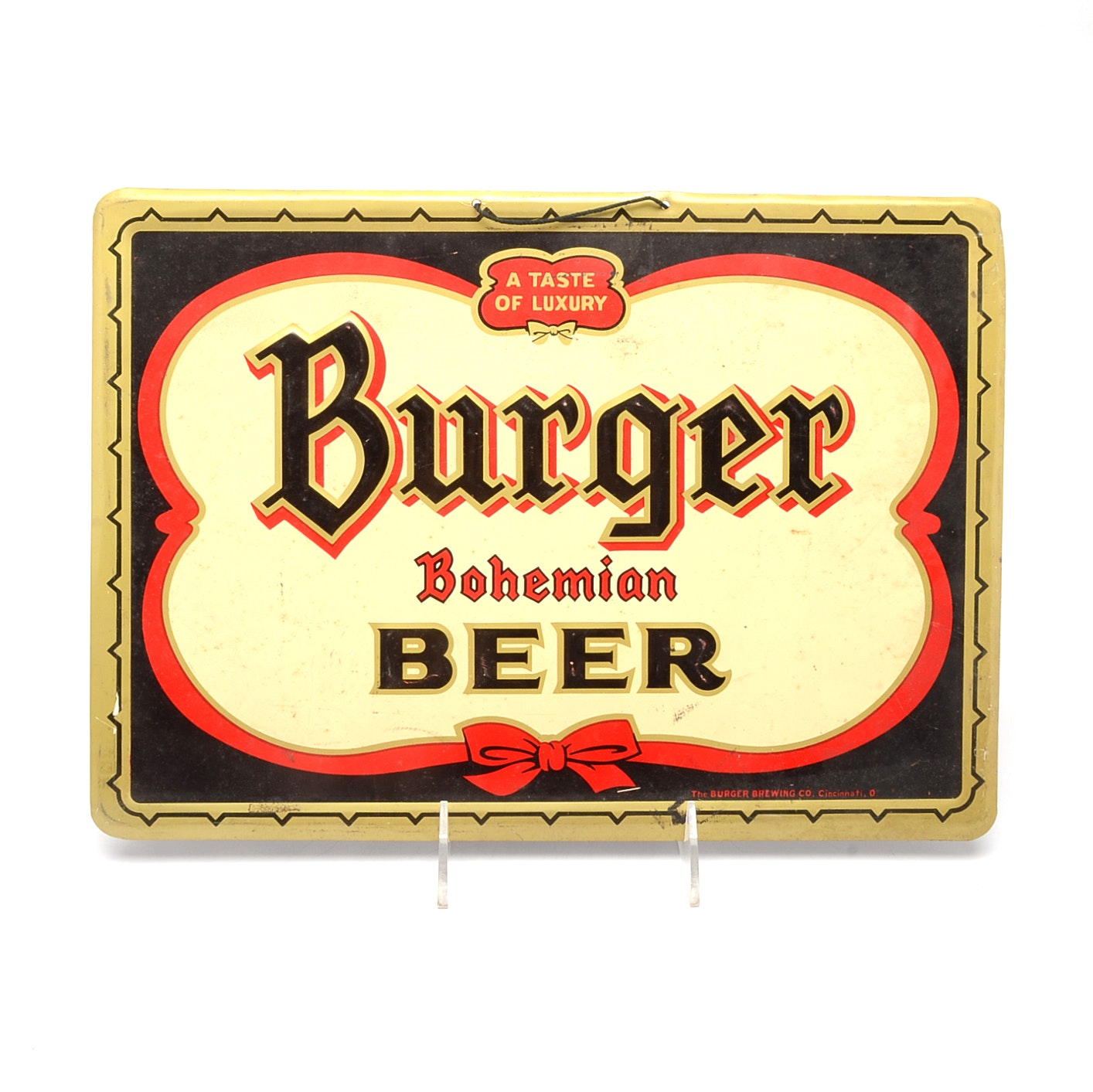 1940s Burger Beer Metal Sign