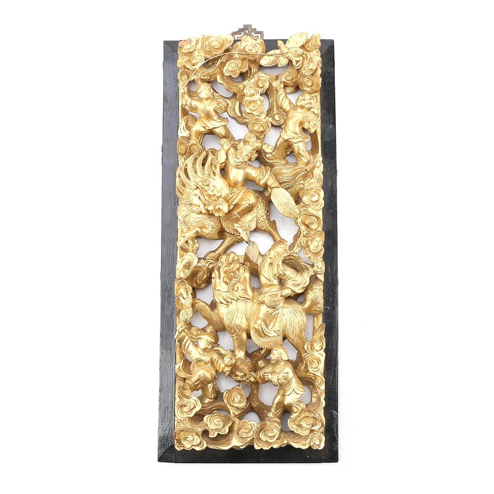 East Asian Carved Wood Wall Hanging