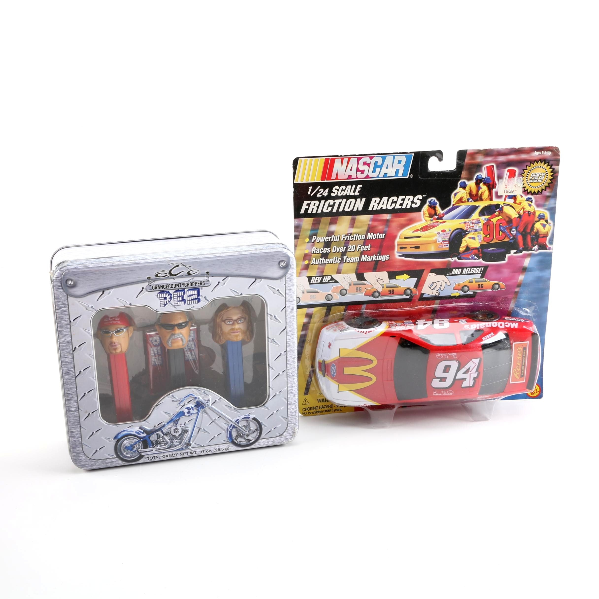 Pez Orange County Coppers Dispensers and NASCAR Friction Racer