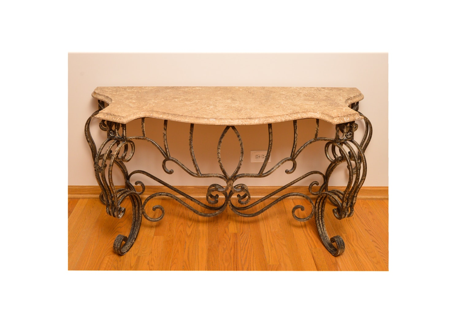 Contemporary Stone Top Metal Console Table
