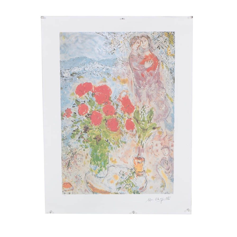 "Limited Edition Offset Lithograph After Marc Chagall ""Red Bouquet With Lovers"""