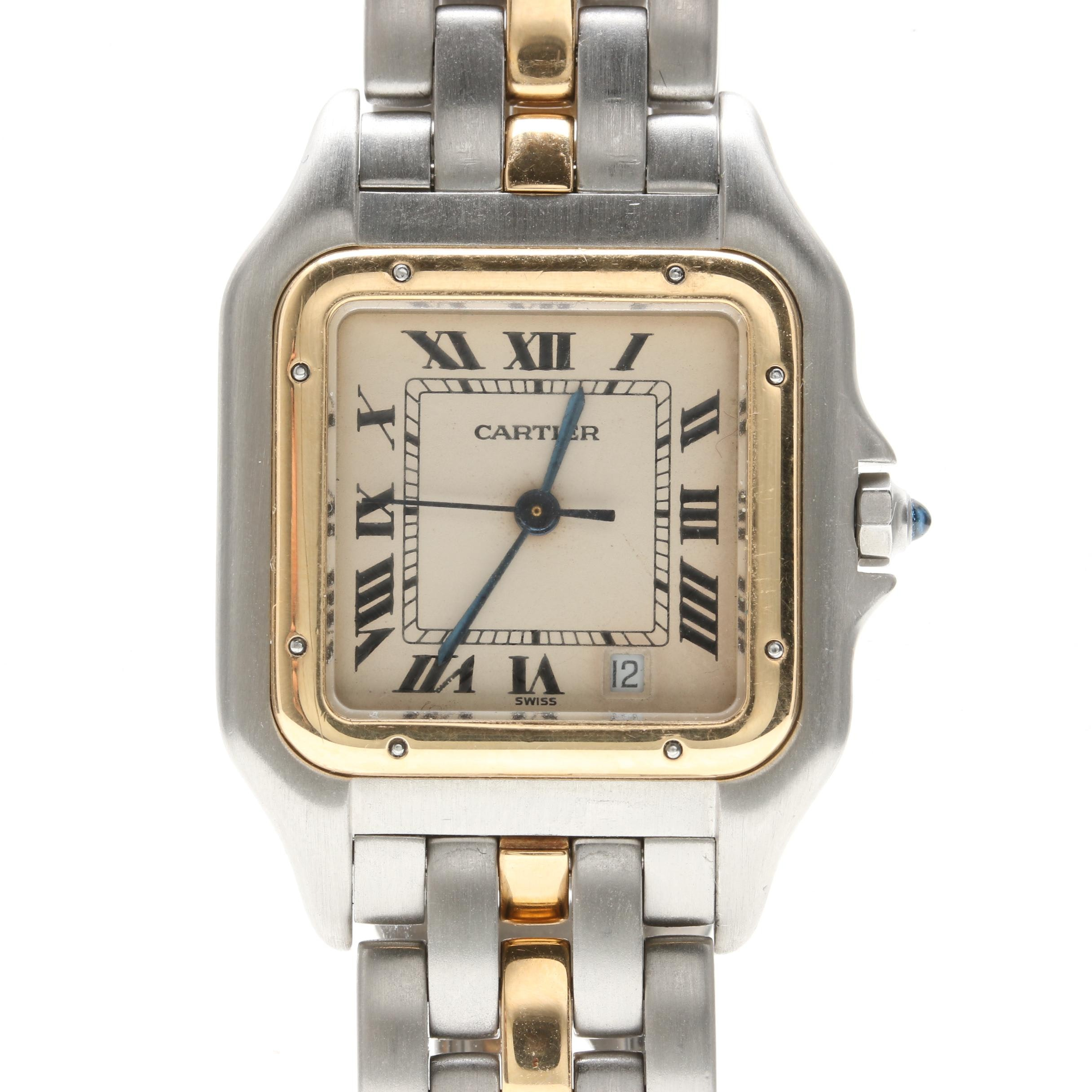"Cartier ""Panthère"" 18K Gold and Stainless Steel Wristwatch"