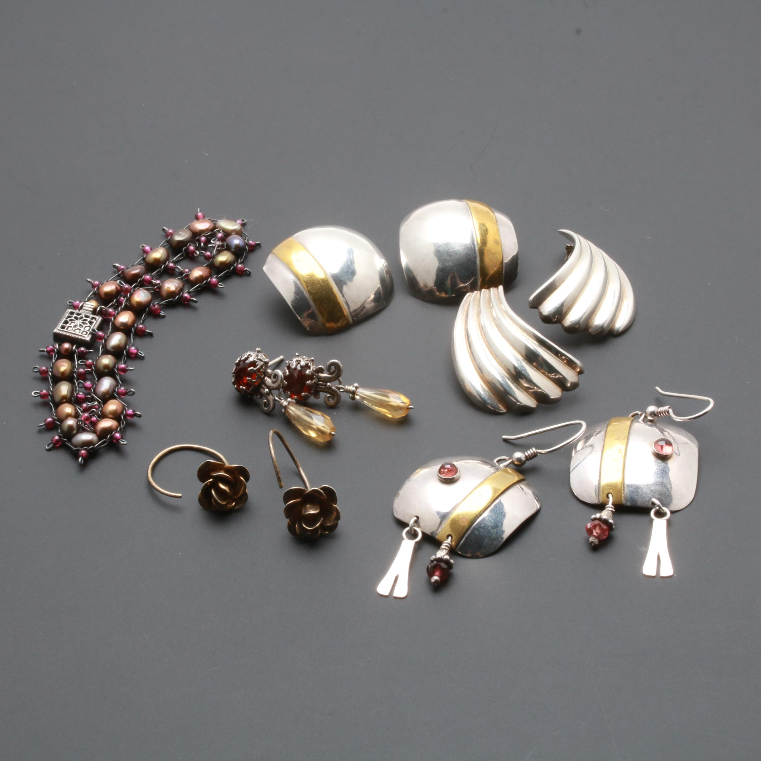 Sterling Silver Bracelet and Earring Selection With Pearl, Garnet and Citrine