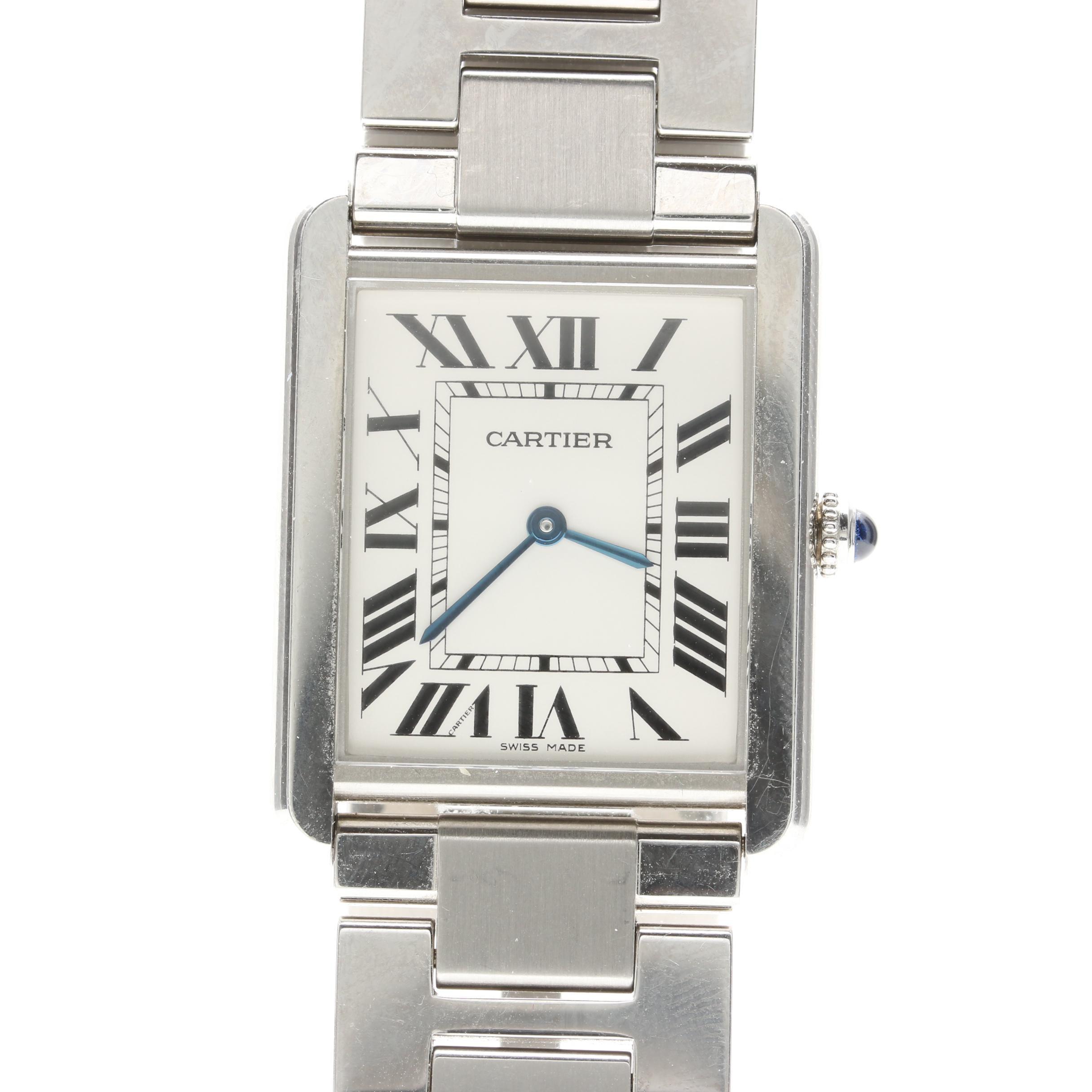 "Cartier ""Tank Solo"" Stainless Steel Wristwatch"