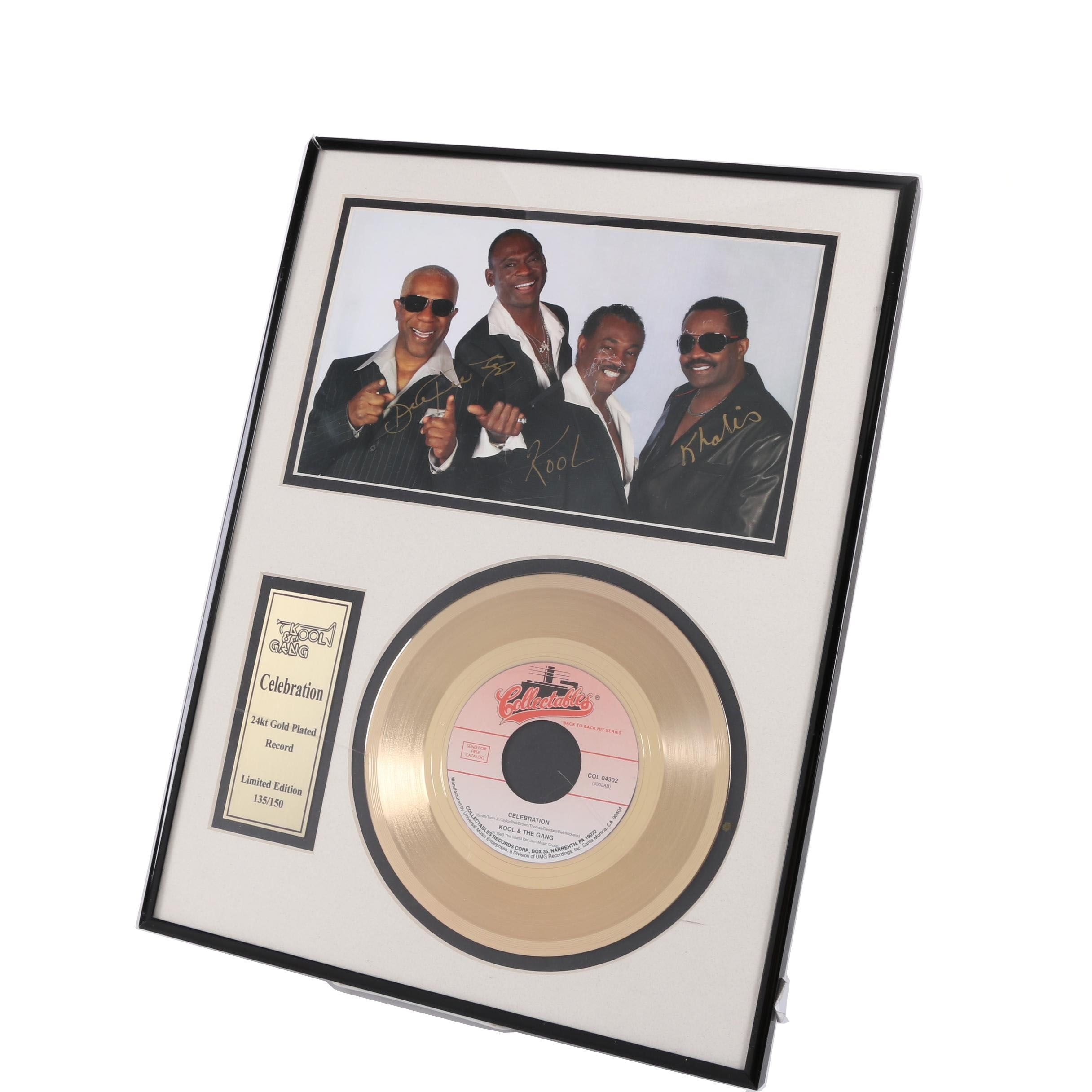 Limited Edition Kool & the Gang Autographed 24kt Gold Plated Record