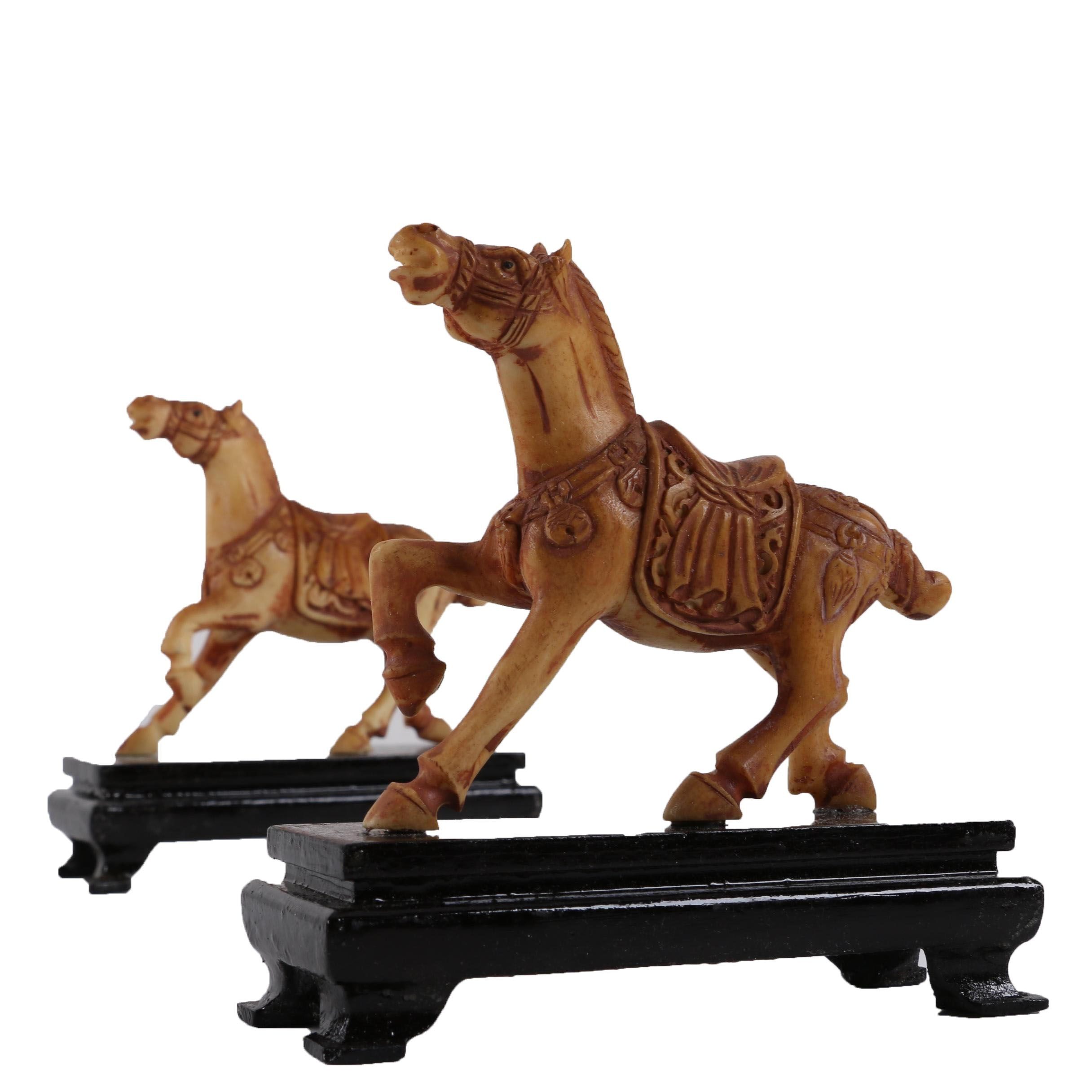 Resin Horse Figurines on Pedestal Bases