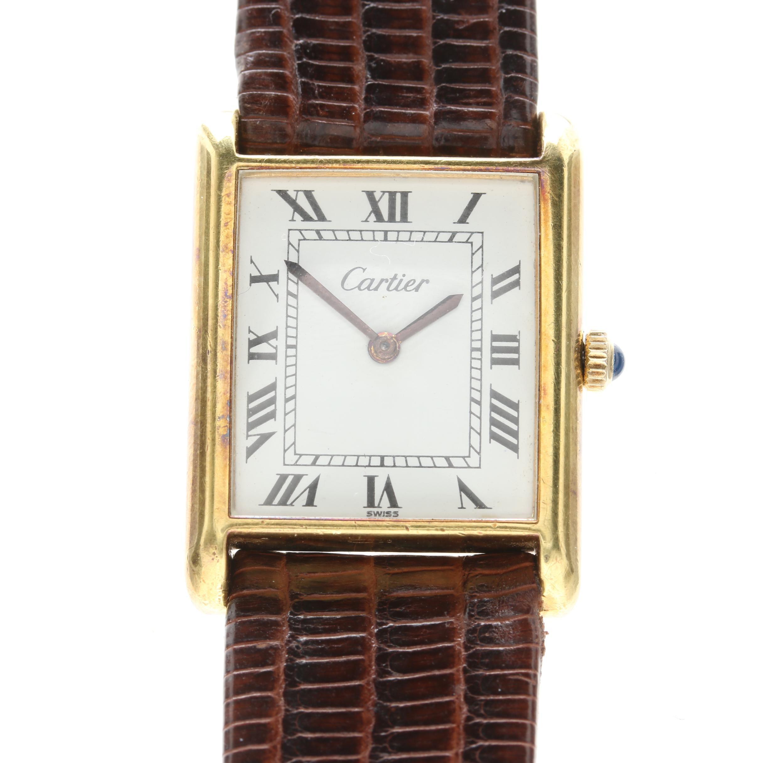 Cartier Gold Plated Stem Wind Wristwatch