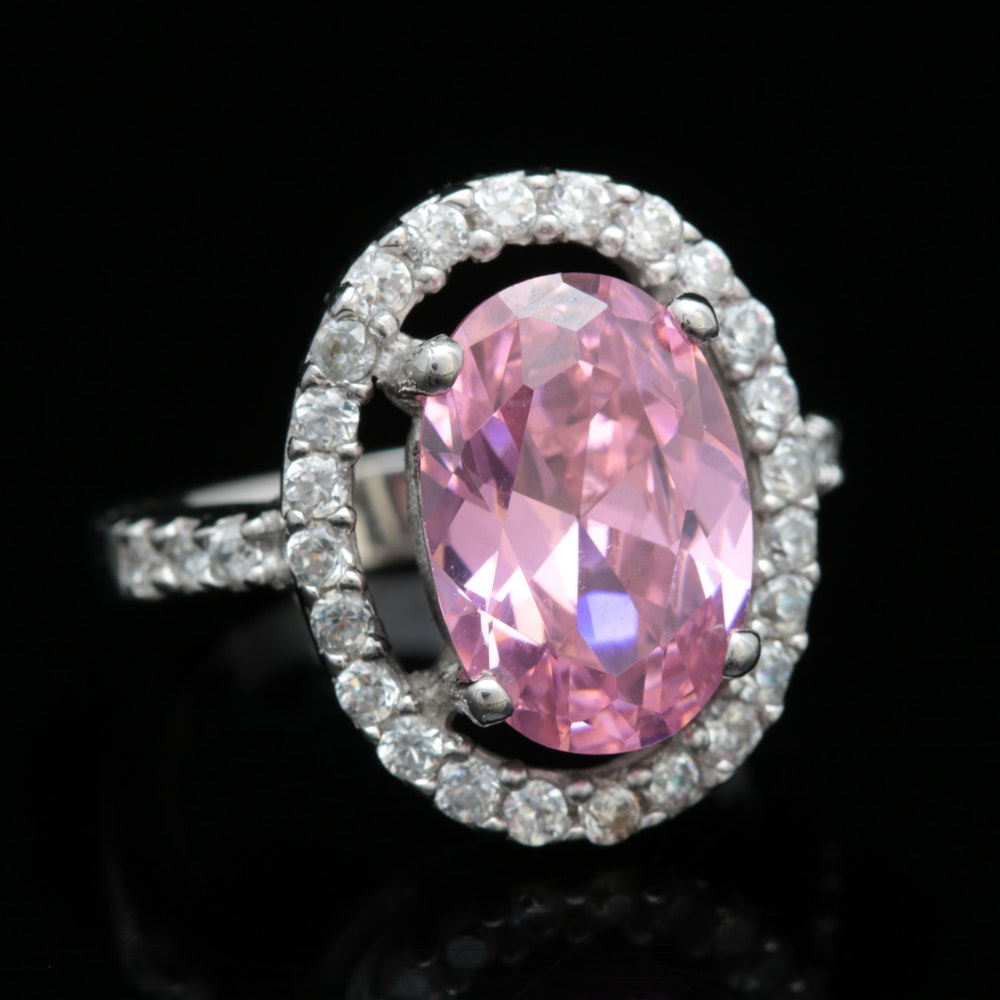 Sterling Silver and Pink and White Cubic Zirconia Ring