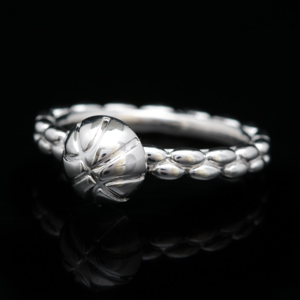 Sterling Silver Basketball Ring