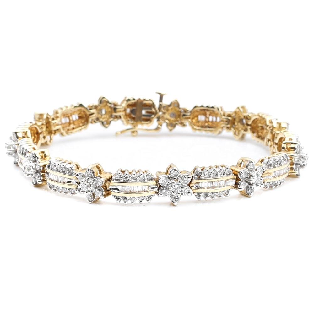 14K Yellow Gold and 4.00 CTW Diamond Bar Bracelet