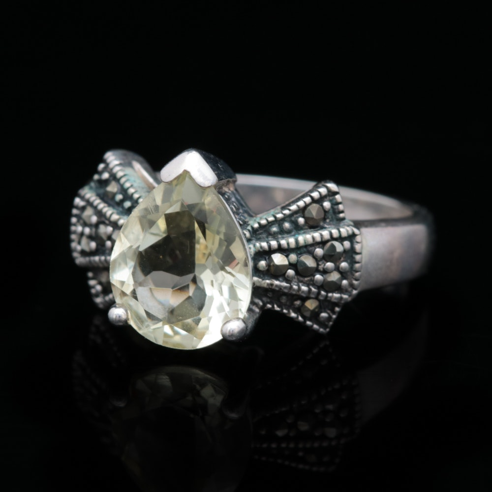 Sterling Silver, Lemon Quartz and Marcasite Ring
