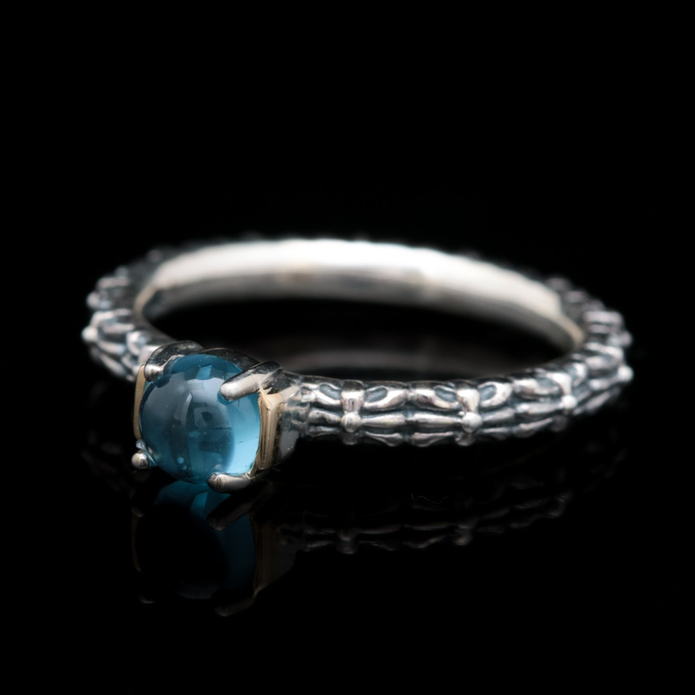 Sterling Silver, 14K Yellow Gold and Blue Topaz Ring