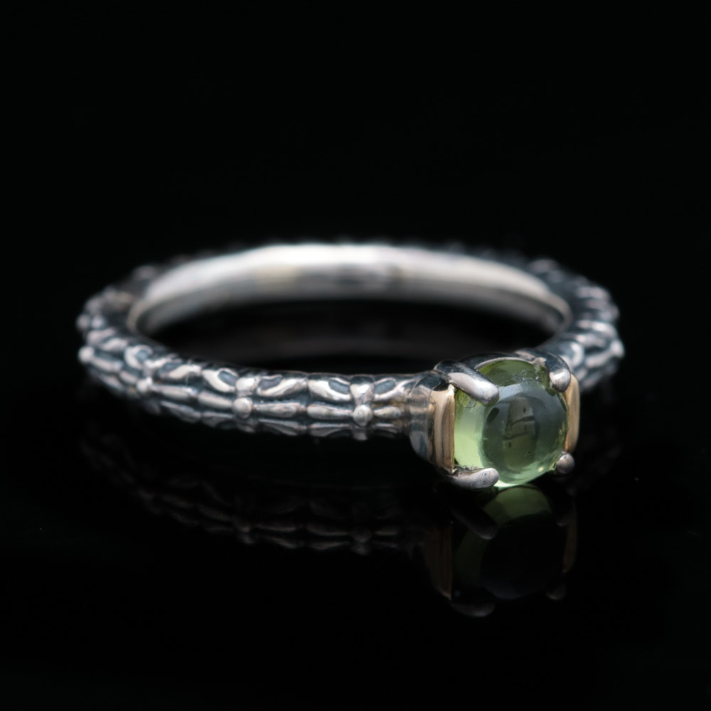 Sterling Silver, 14K Yellow Gold and Peridot Ring