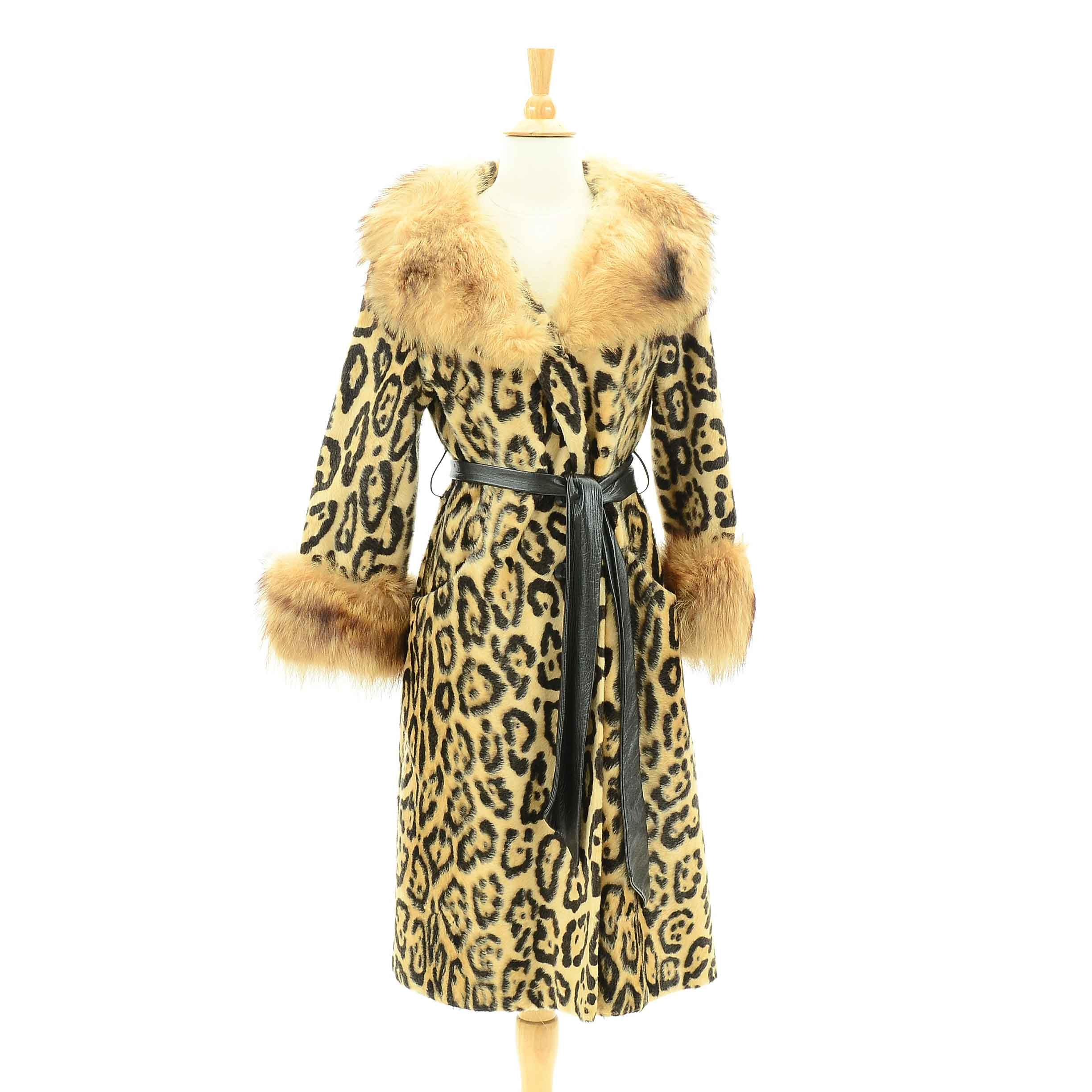 Vintage Coyote Fur and Leopard Print Coat