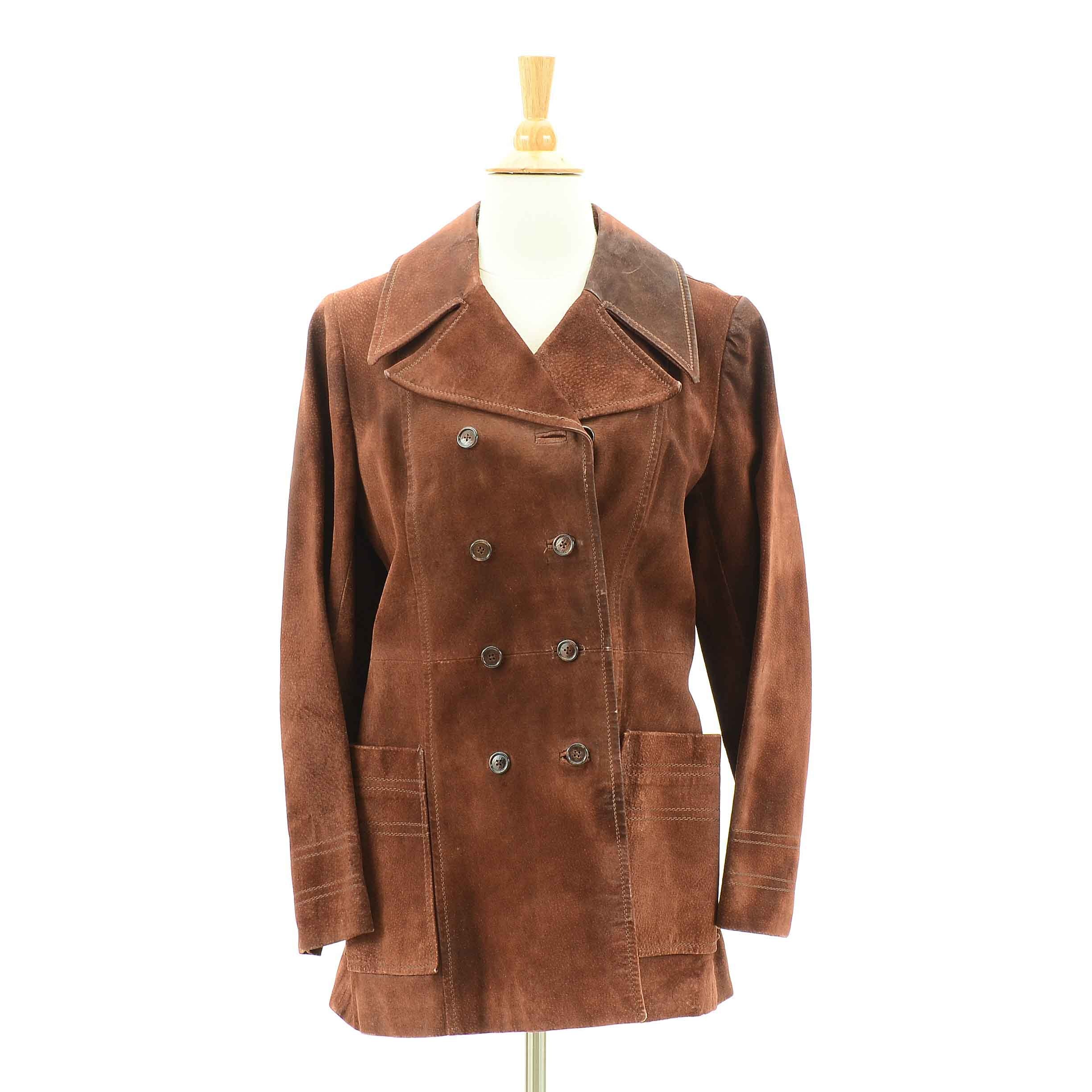 1970s Vintage Brown Suede Double-Breasted Jacket